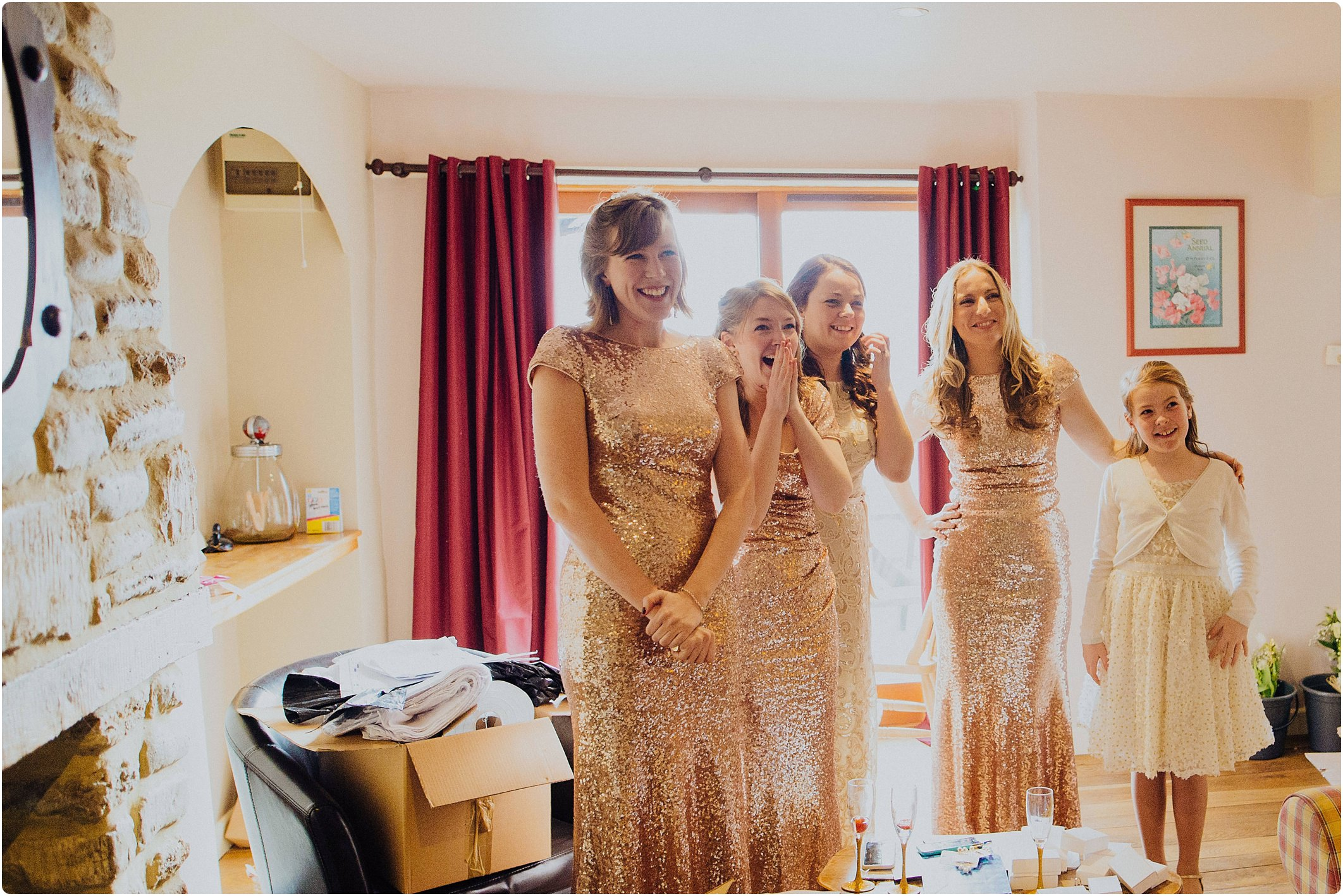 rose gold sparkly bridesmaid dresses