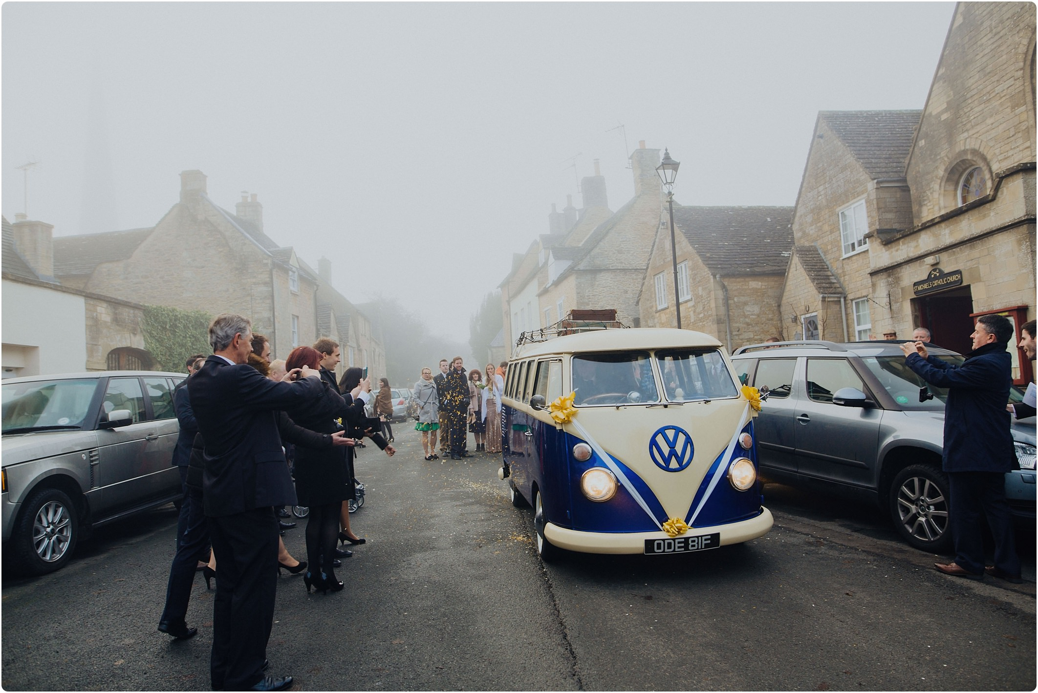 blue and white vw camper at winter wedding