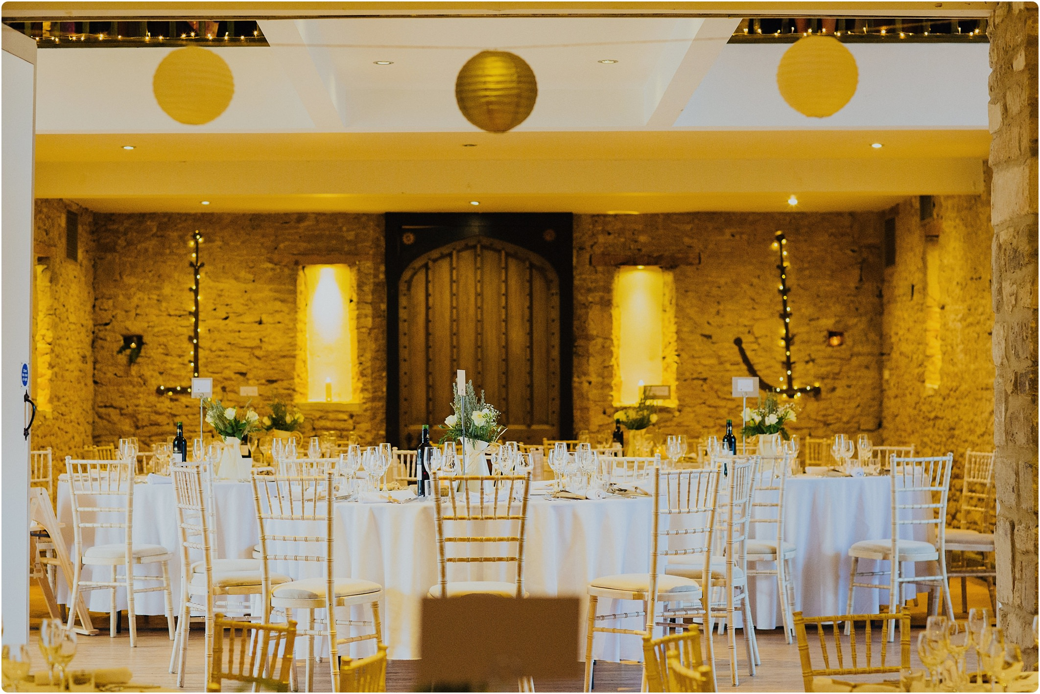 gold and white wedding lanterns