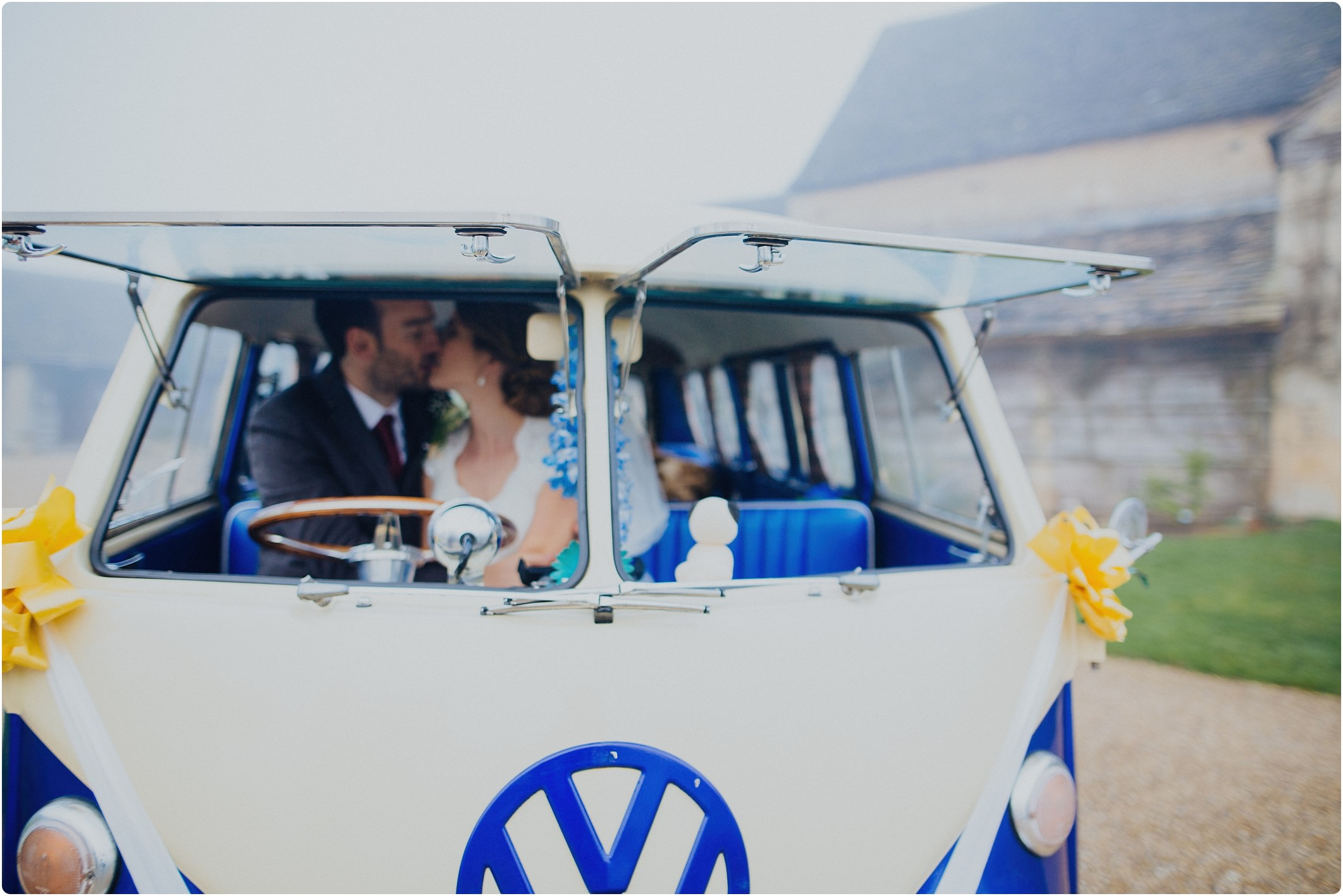 tetbury wedding blue and white vw camper