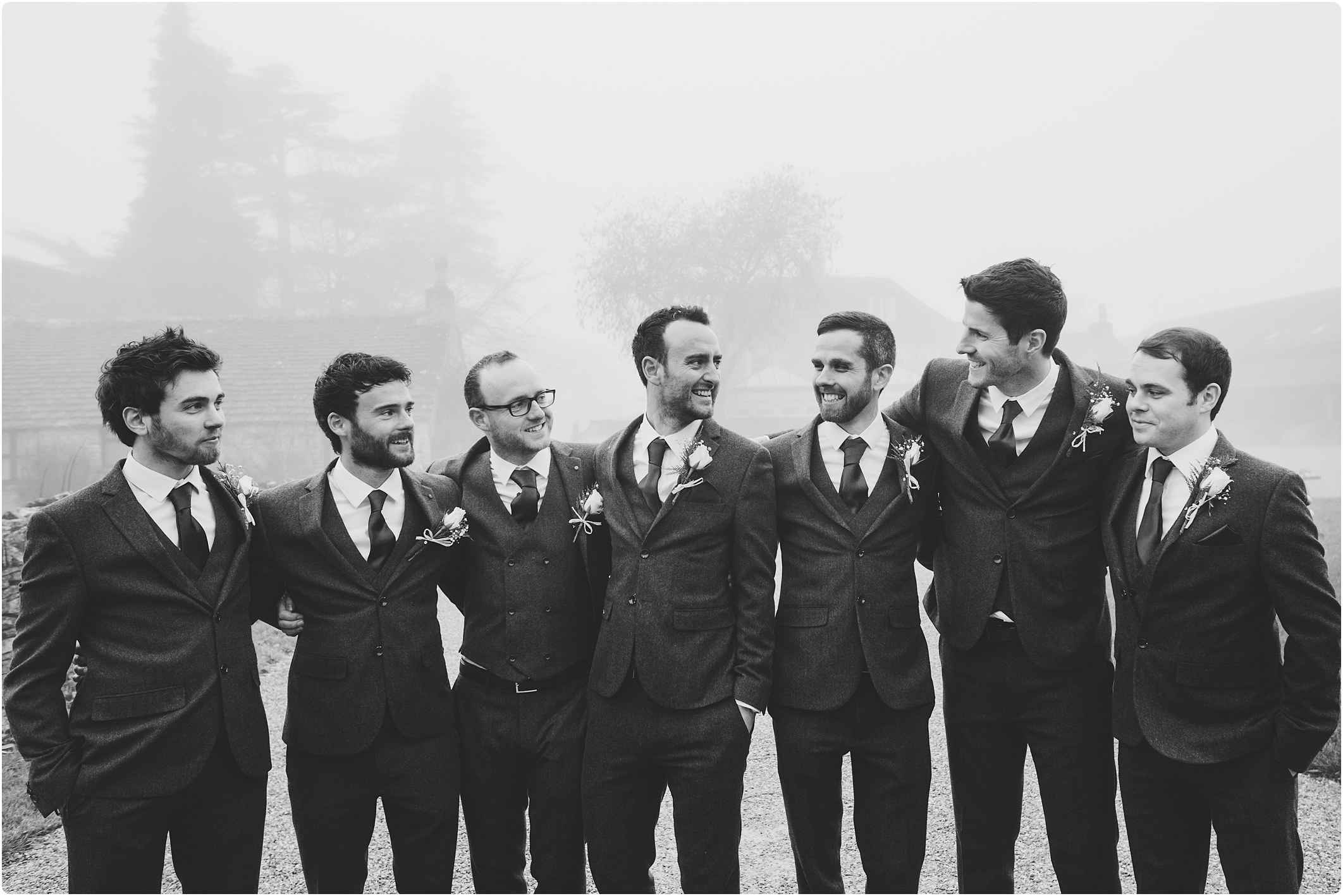 groomsmen at great tythe barn wedding
