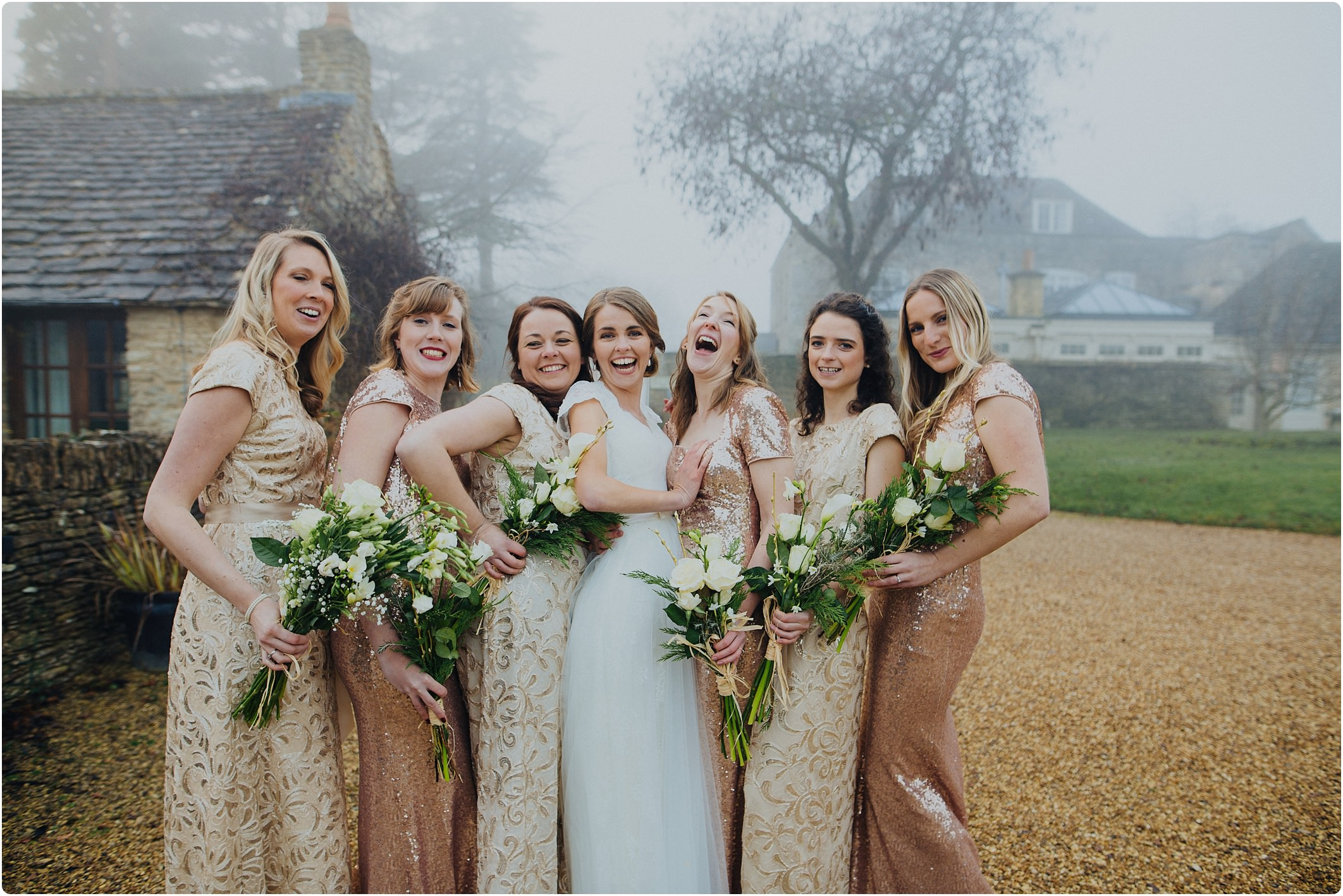 great tythe barn wedding bridesmaids sparkly dress