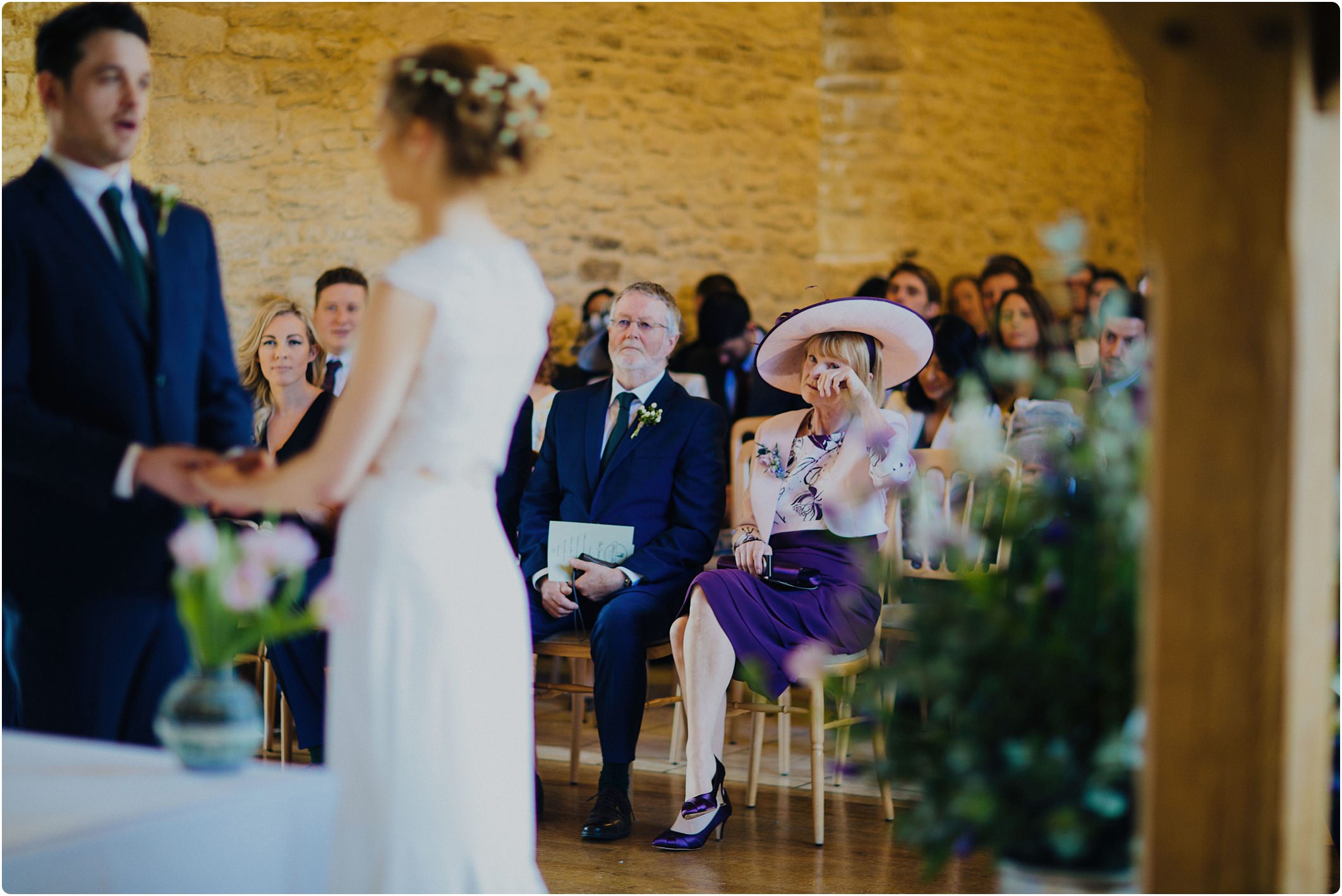 kingscote barn spring wedding, indoor ceremony