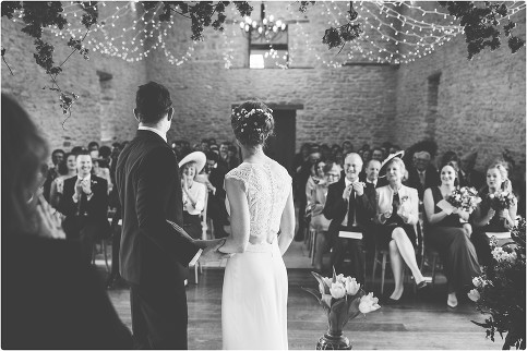 kingscote barn spring wedding, indoor ceremony