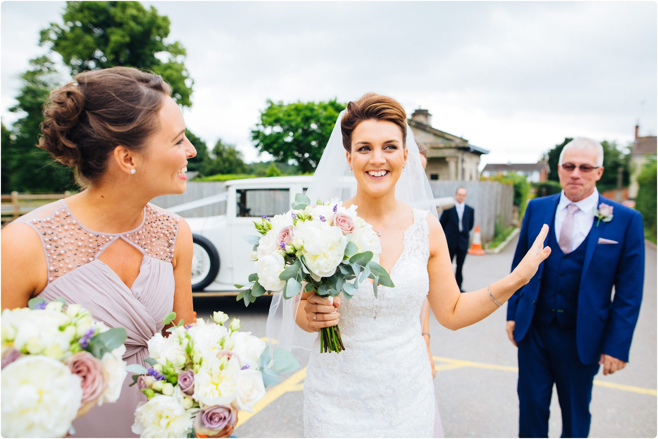 The moonraker wedding bride arriving at church