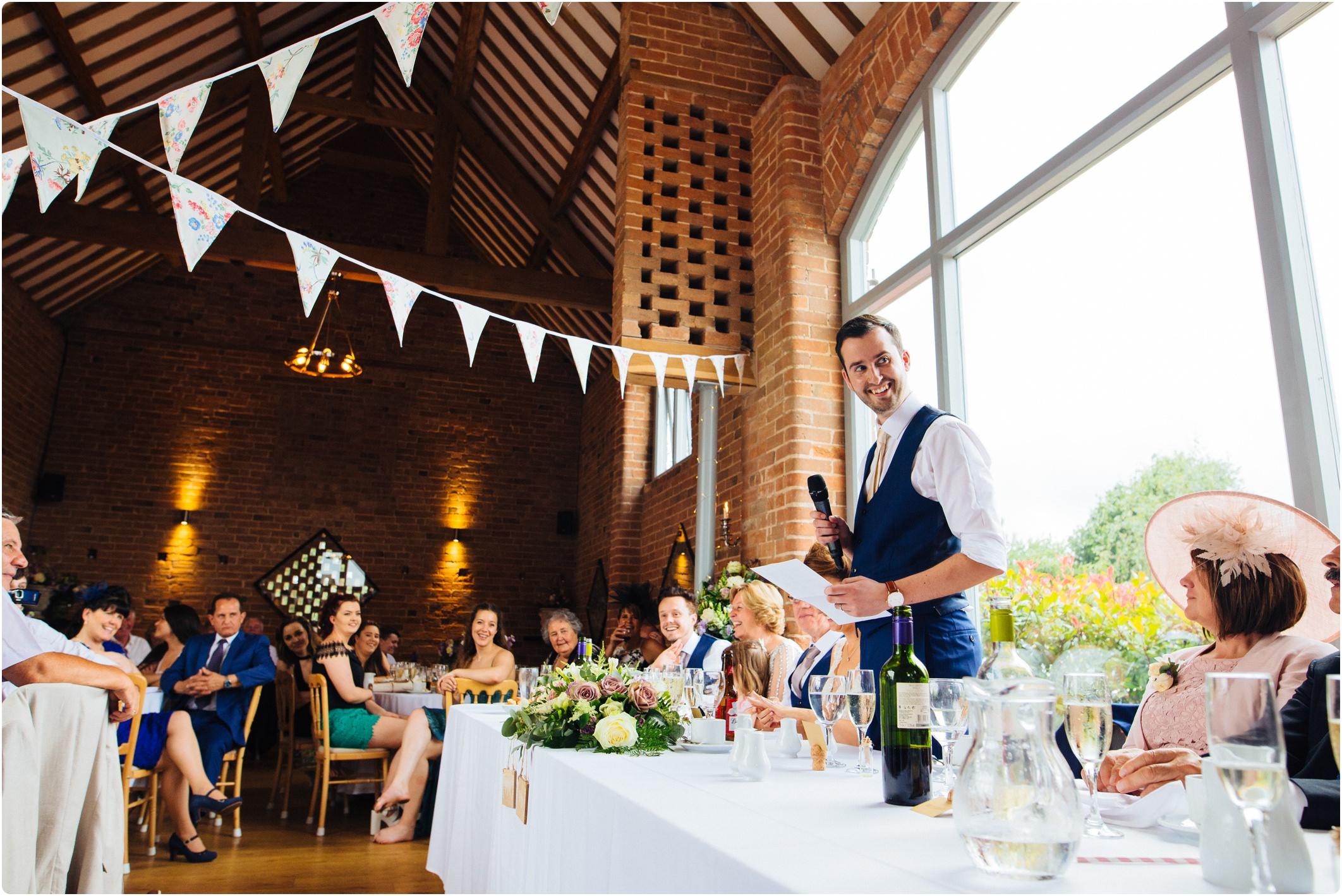 Swallows Nest Barn grooms speech
