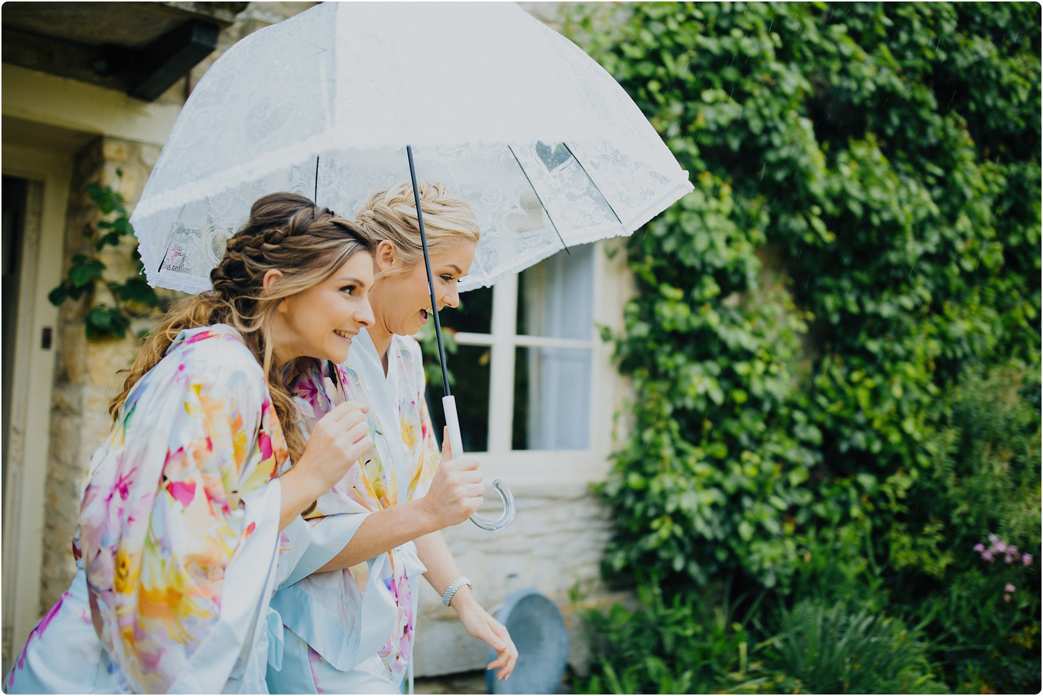 bridesmaids in the rain