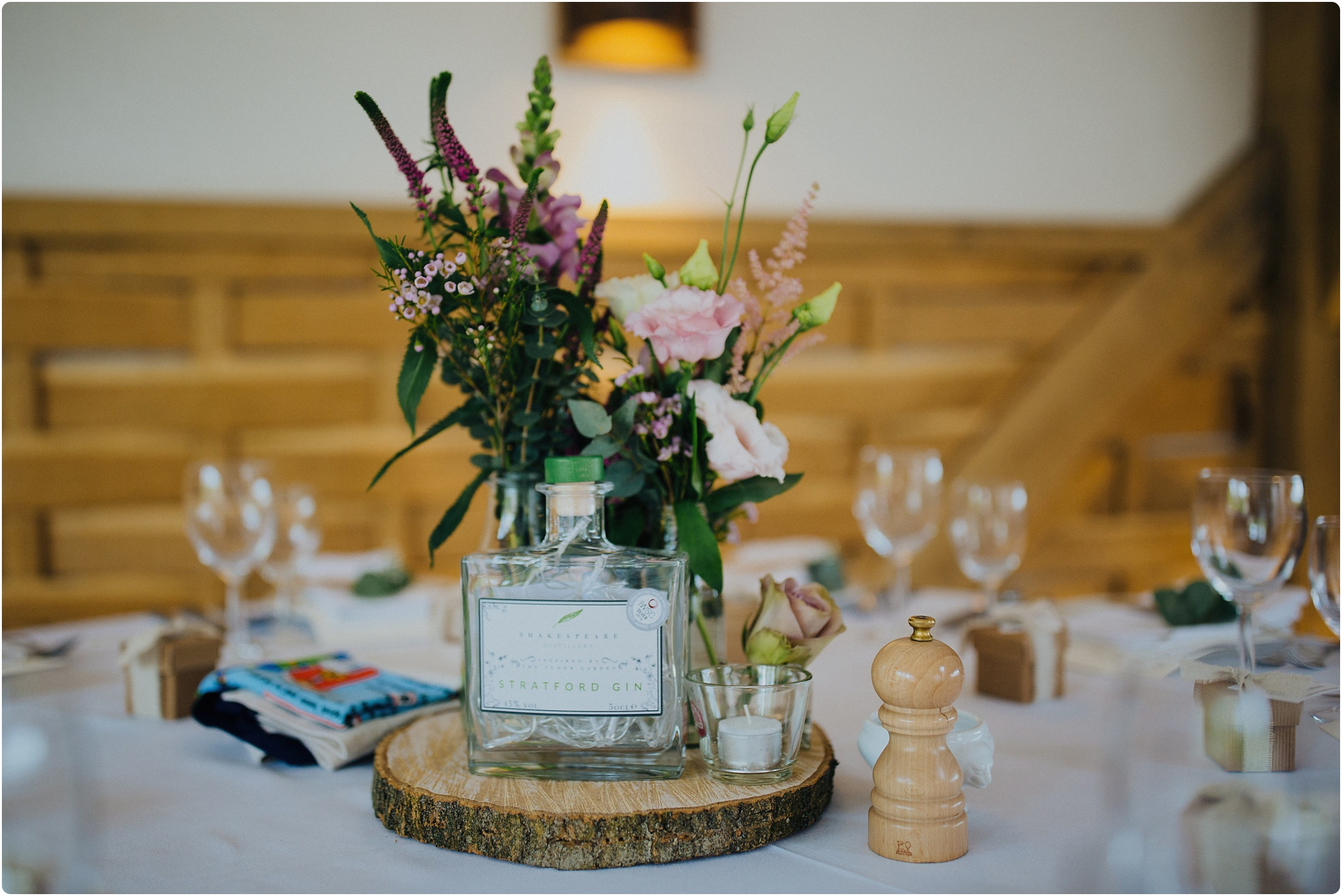 gin themed wedding table centre