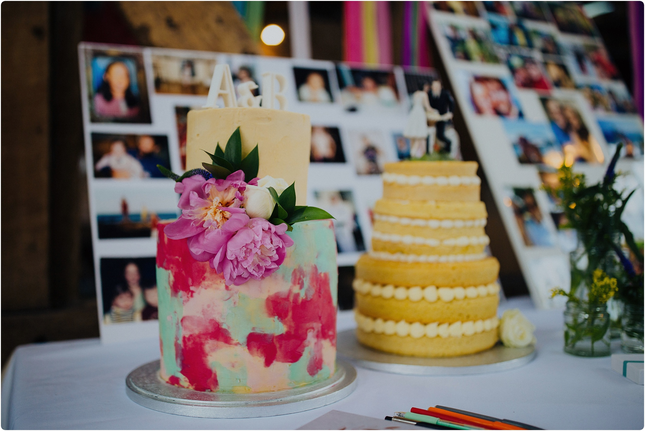 Treadam Barn Wedding multicoloured cake