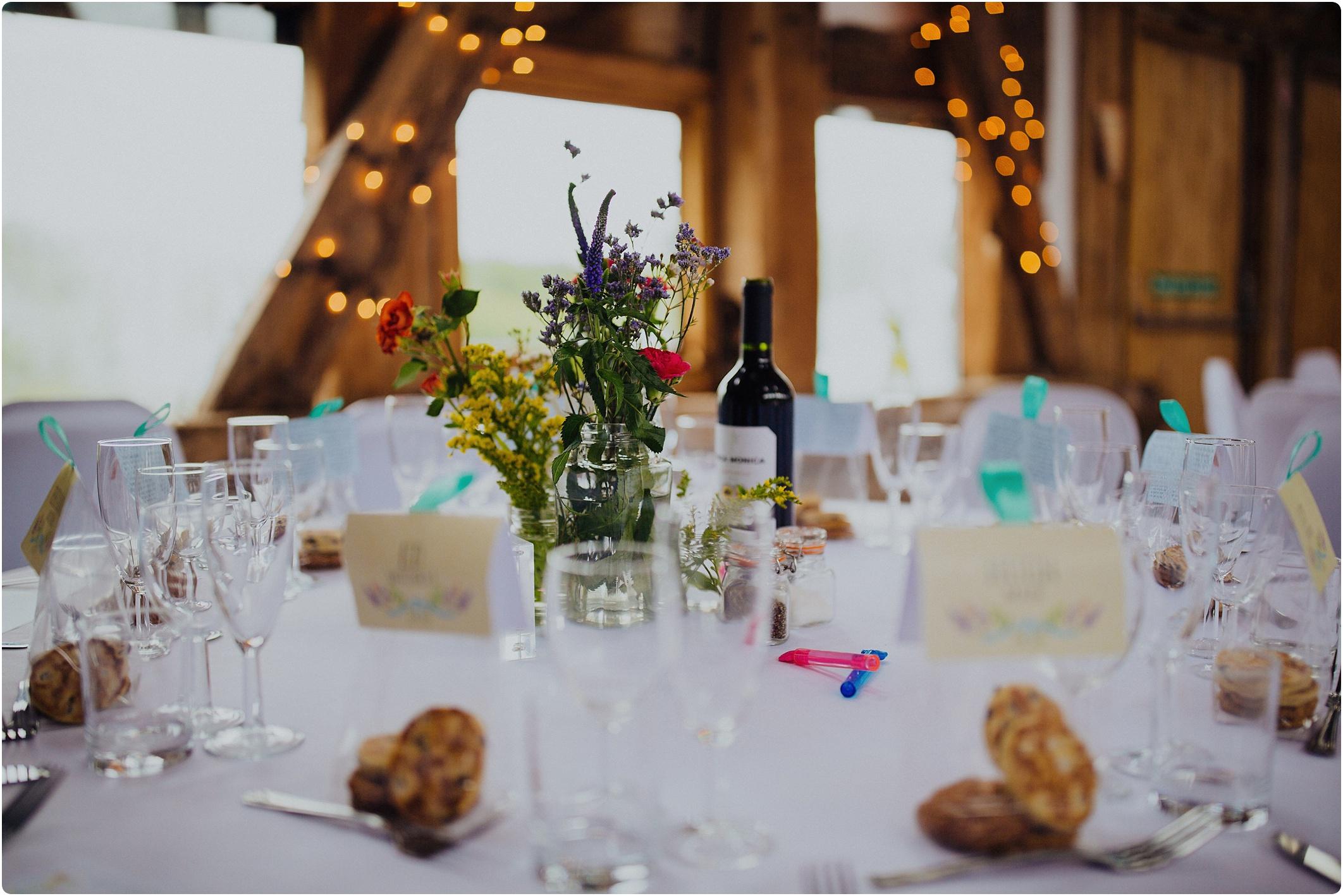 Treadam Barn Wedding table decoration