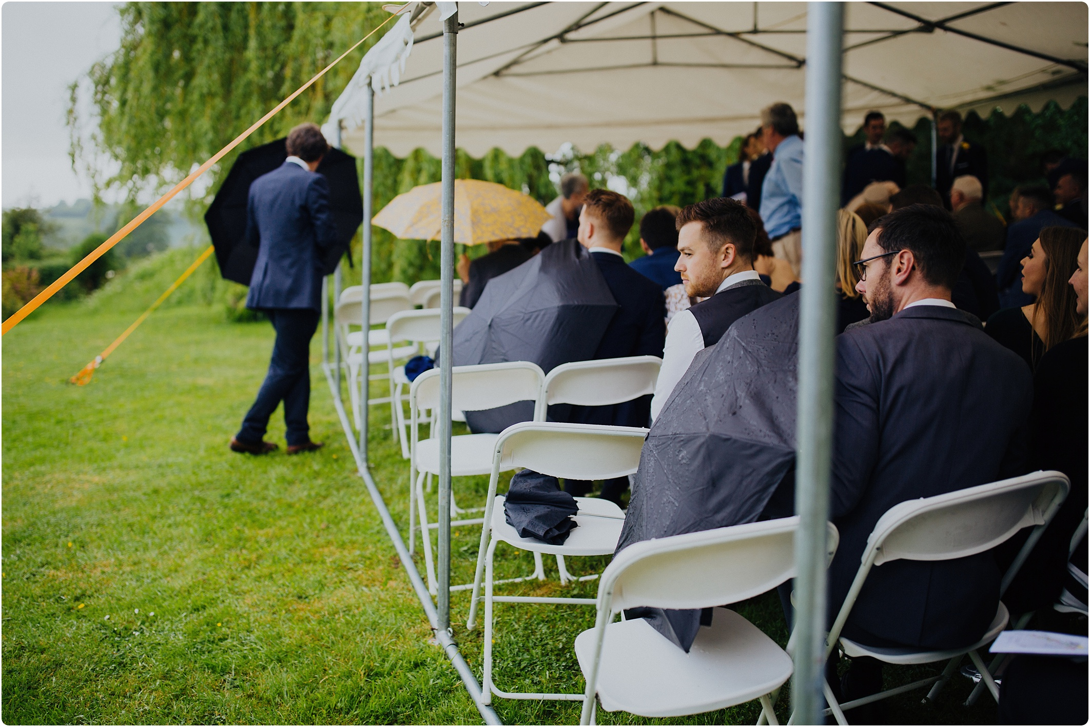 rain at an outdoor ceremony