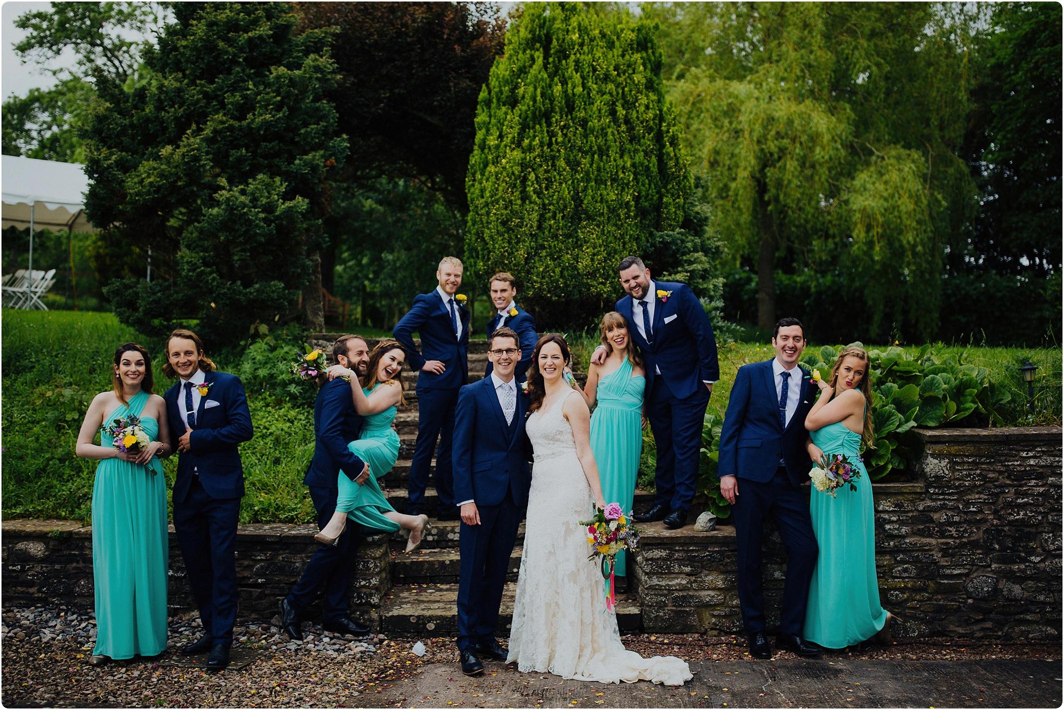 Treadam Barn Wedding bridal party shot