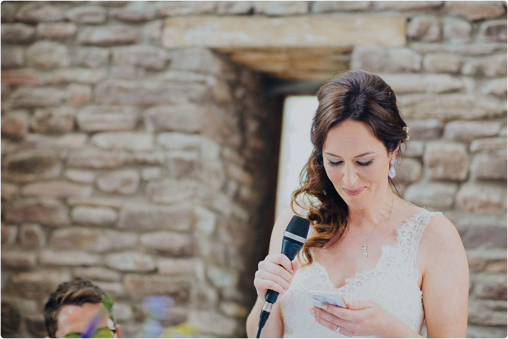 Treadam Barn Wedding bride doing speech