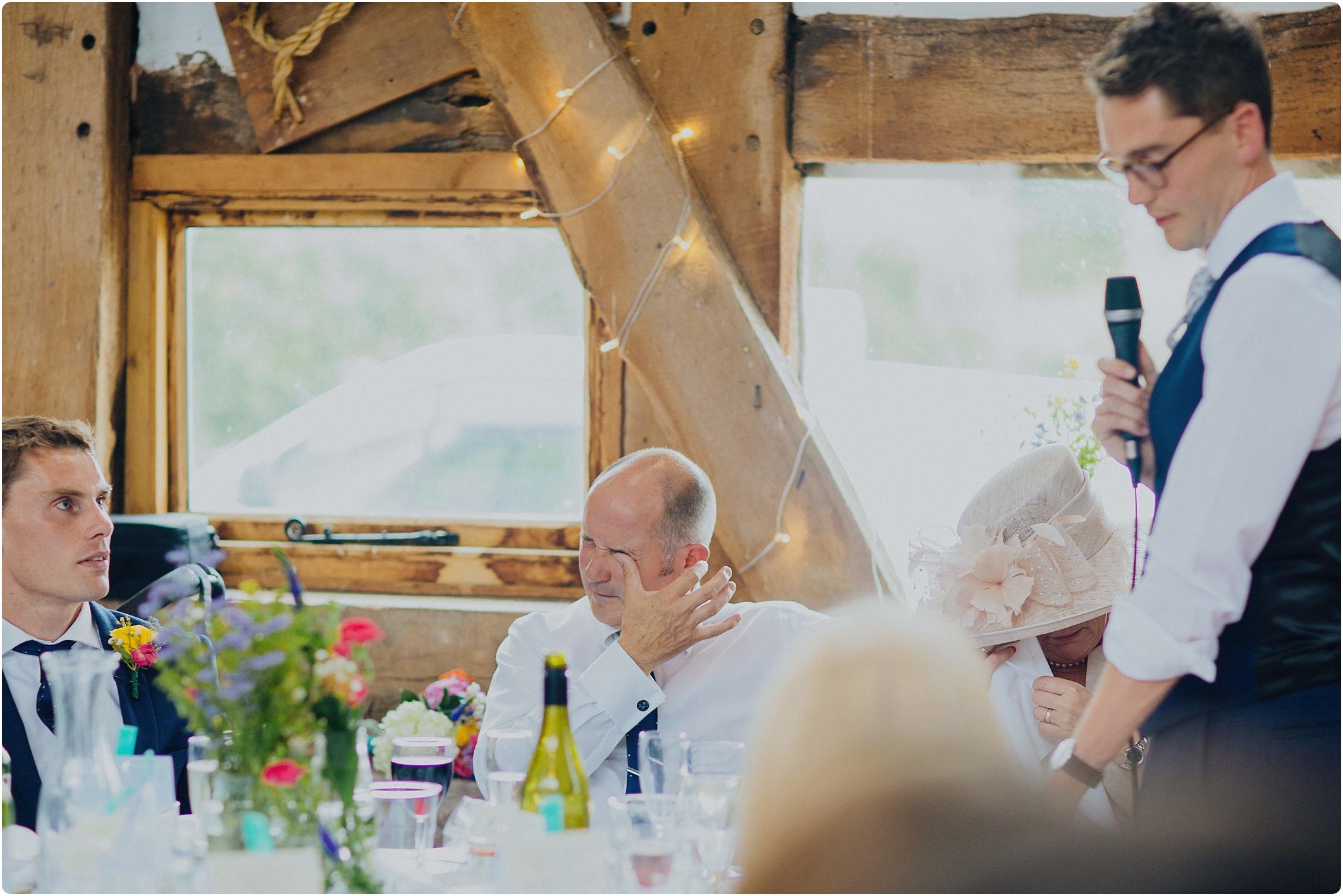 Treadam Barn Wedding wiping tears away