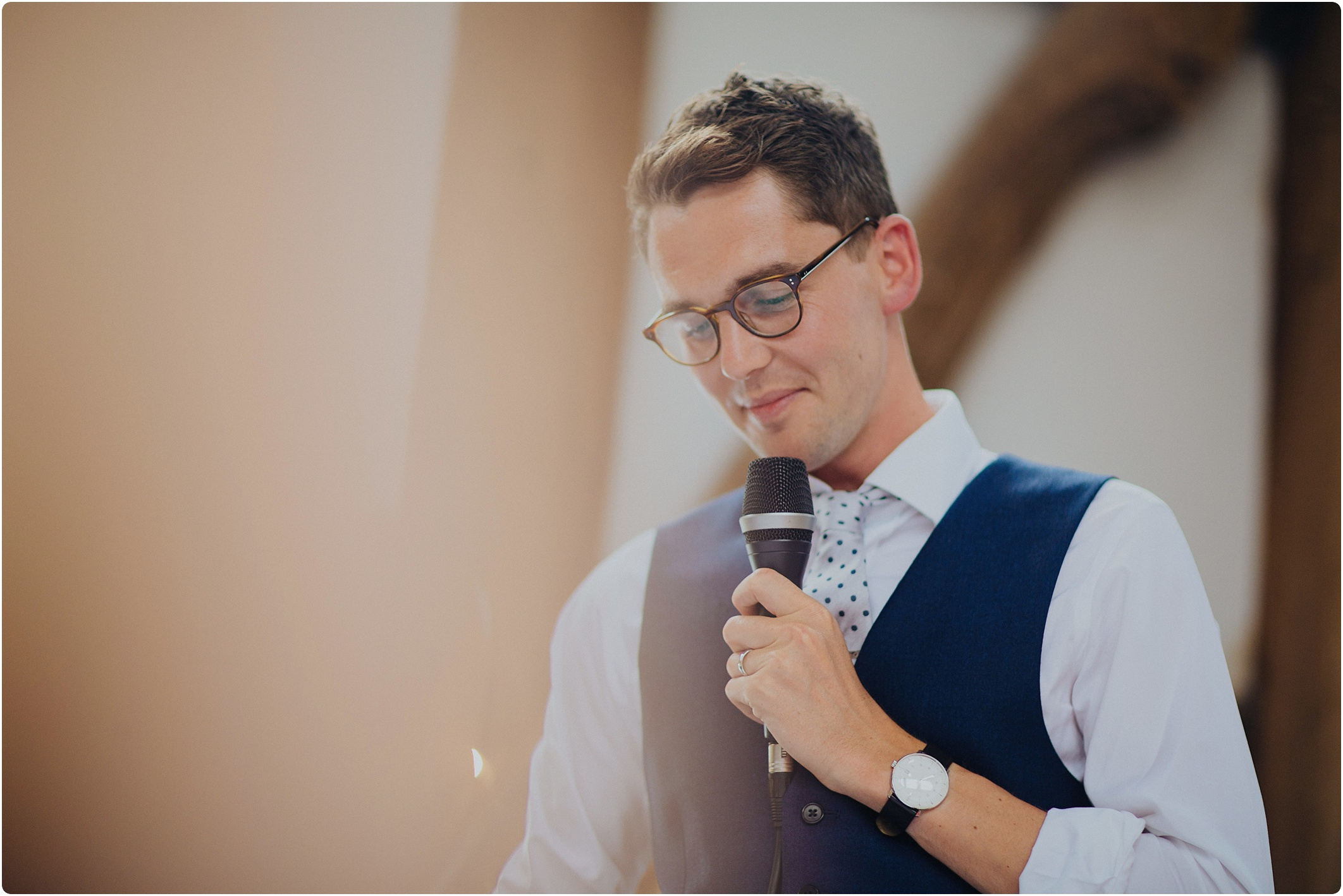 Treadam Barn Wedding groom doing speech