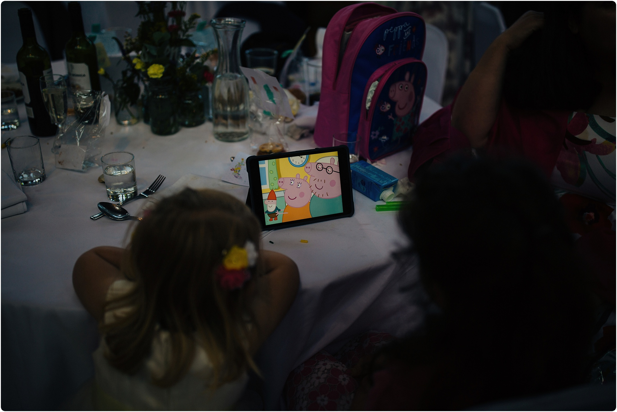 Treadam Barn Wedding kids watching peppa pig