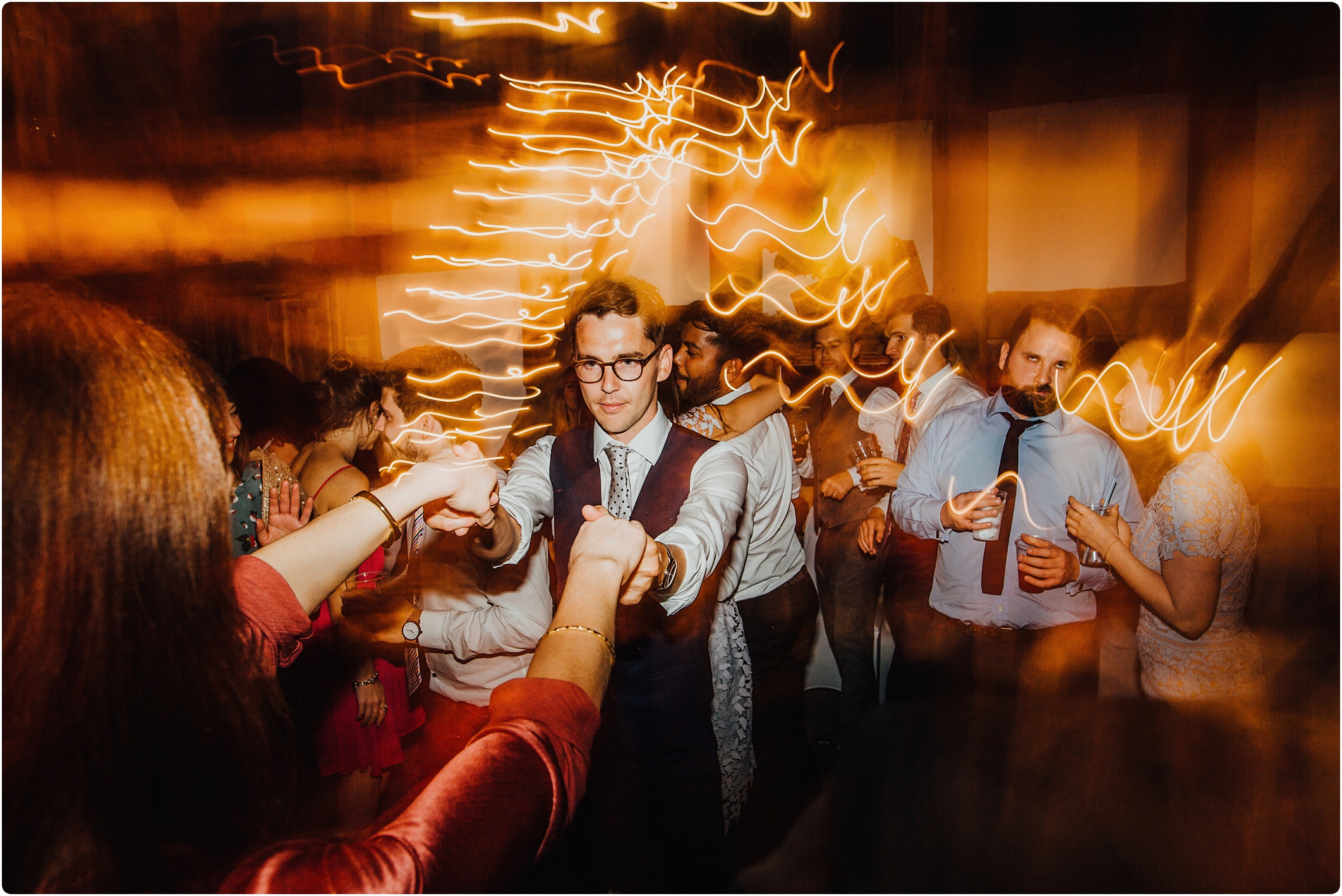 Treadam Barn Wedding light trails
