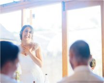 brides emotional speech at a kingscote barn wedding