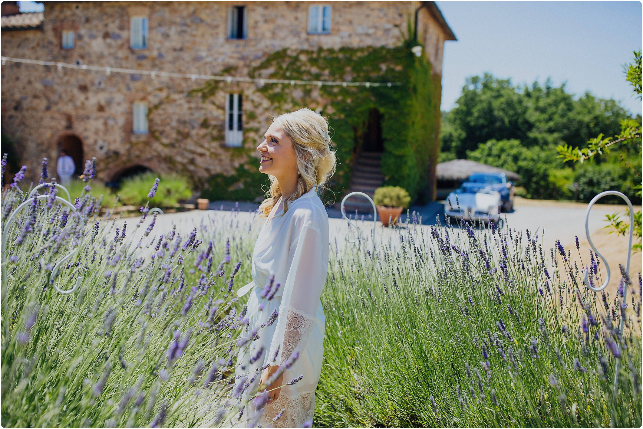 bride in the lavender at a villa podernovo wedding