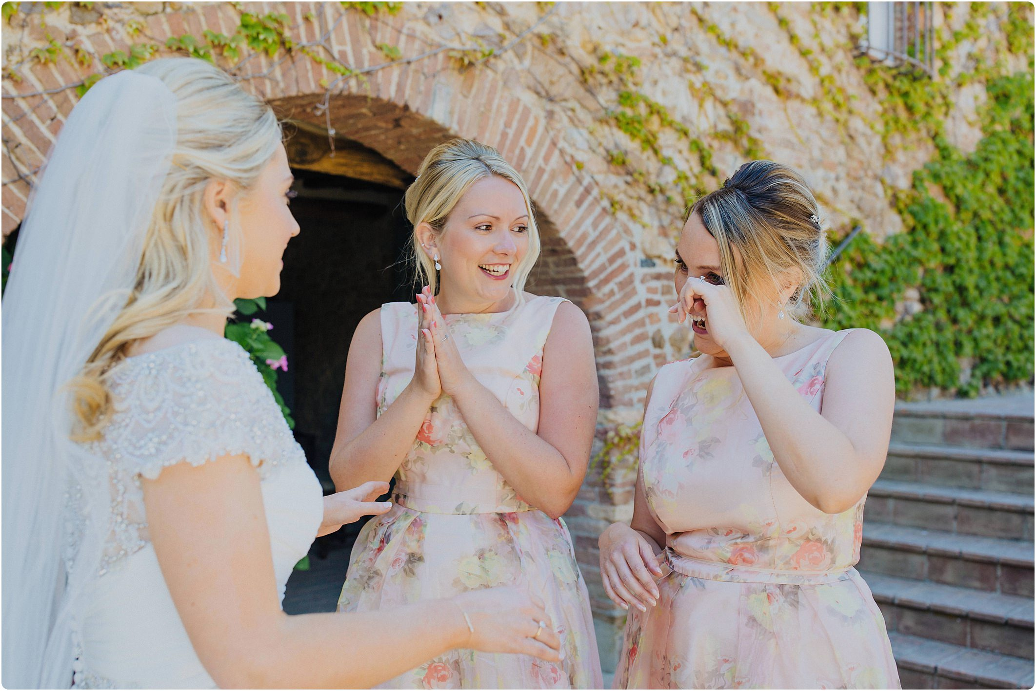 bridesmaids seeing bride for first time at a villa podernovo wedding