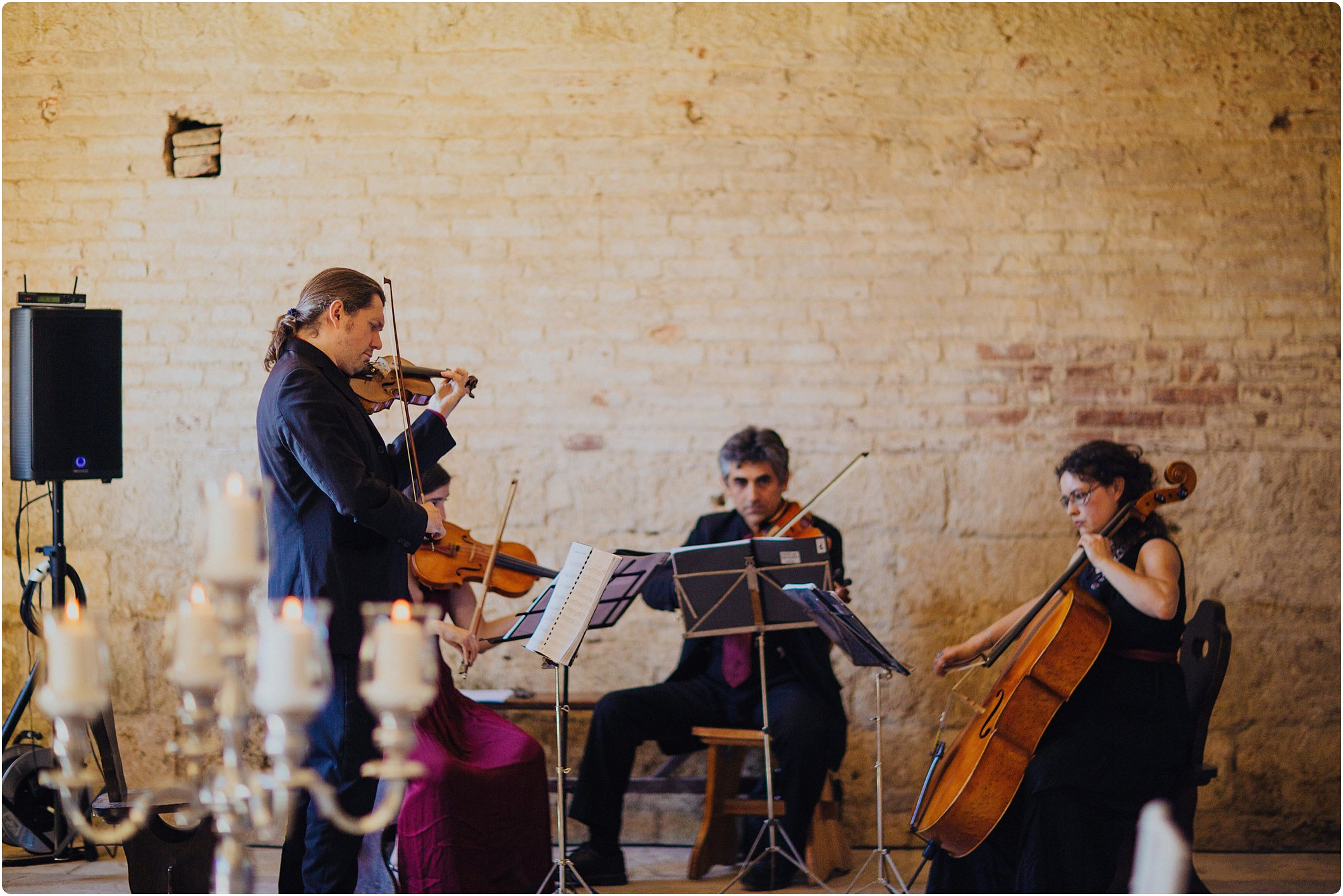 syting quartet at a san galgano abbey wedding