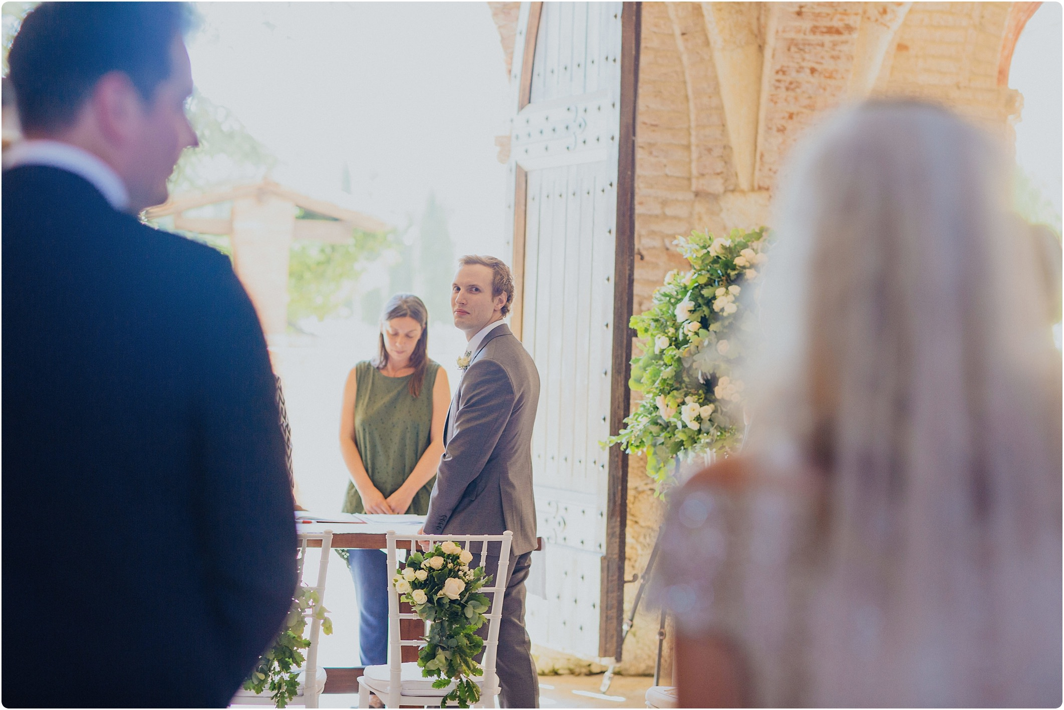 groom seeing bride for first time at a san galgano abbey wedding