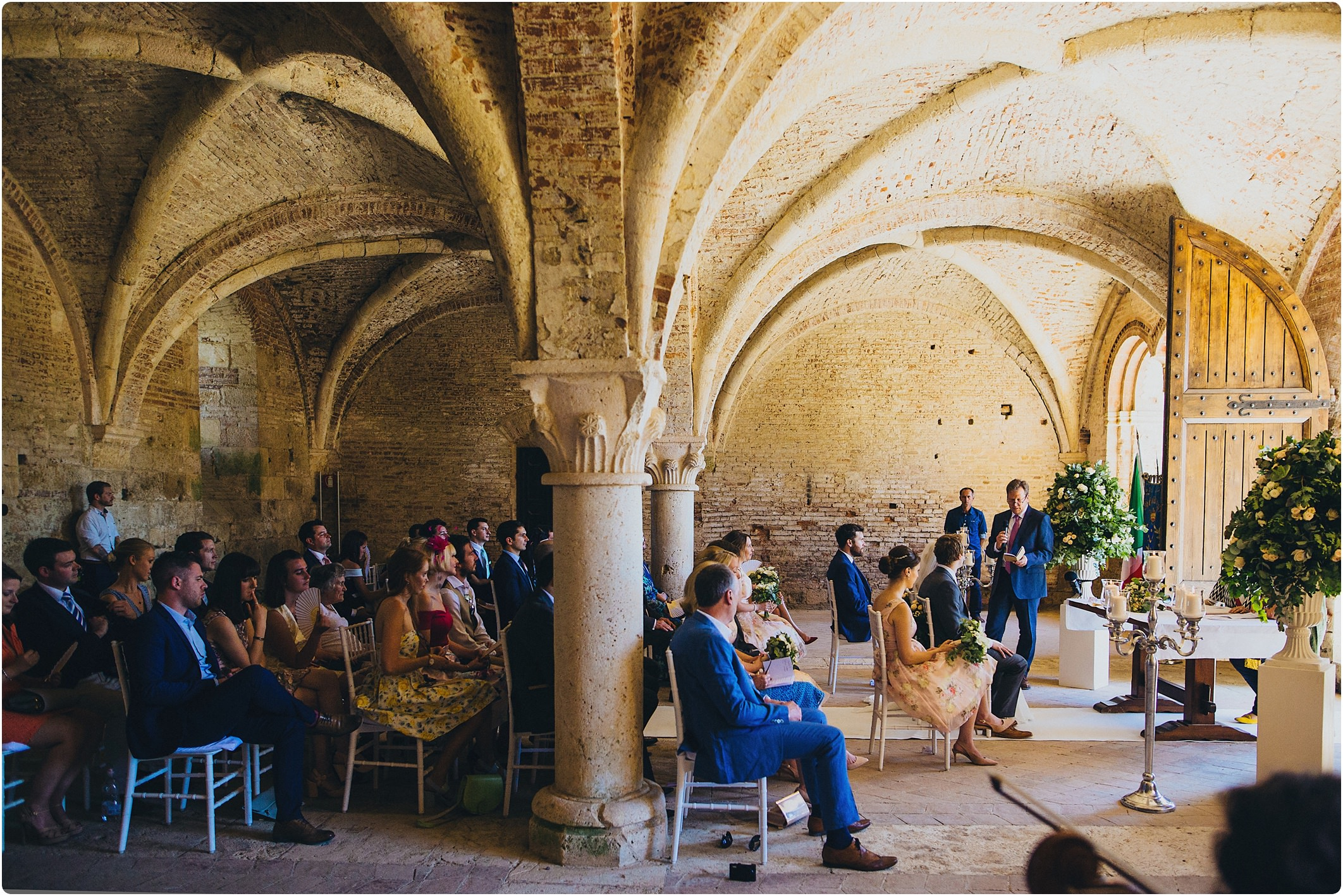 wedding in the cloisters san galgano abbey wedding