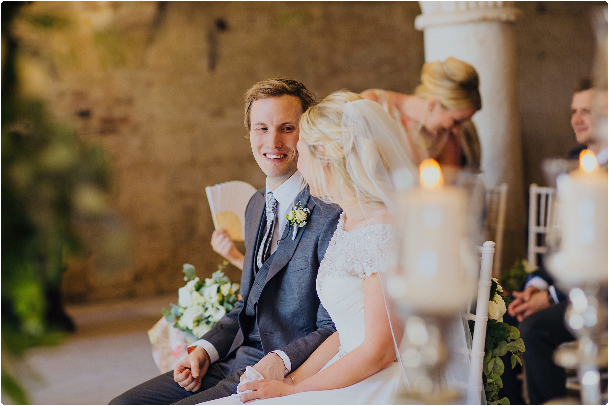 groom looking with love to his wife at a san galgano abbey wedding