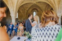couple just married at san galgano abbey, tuscany