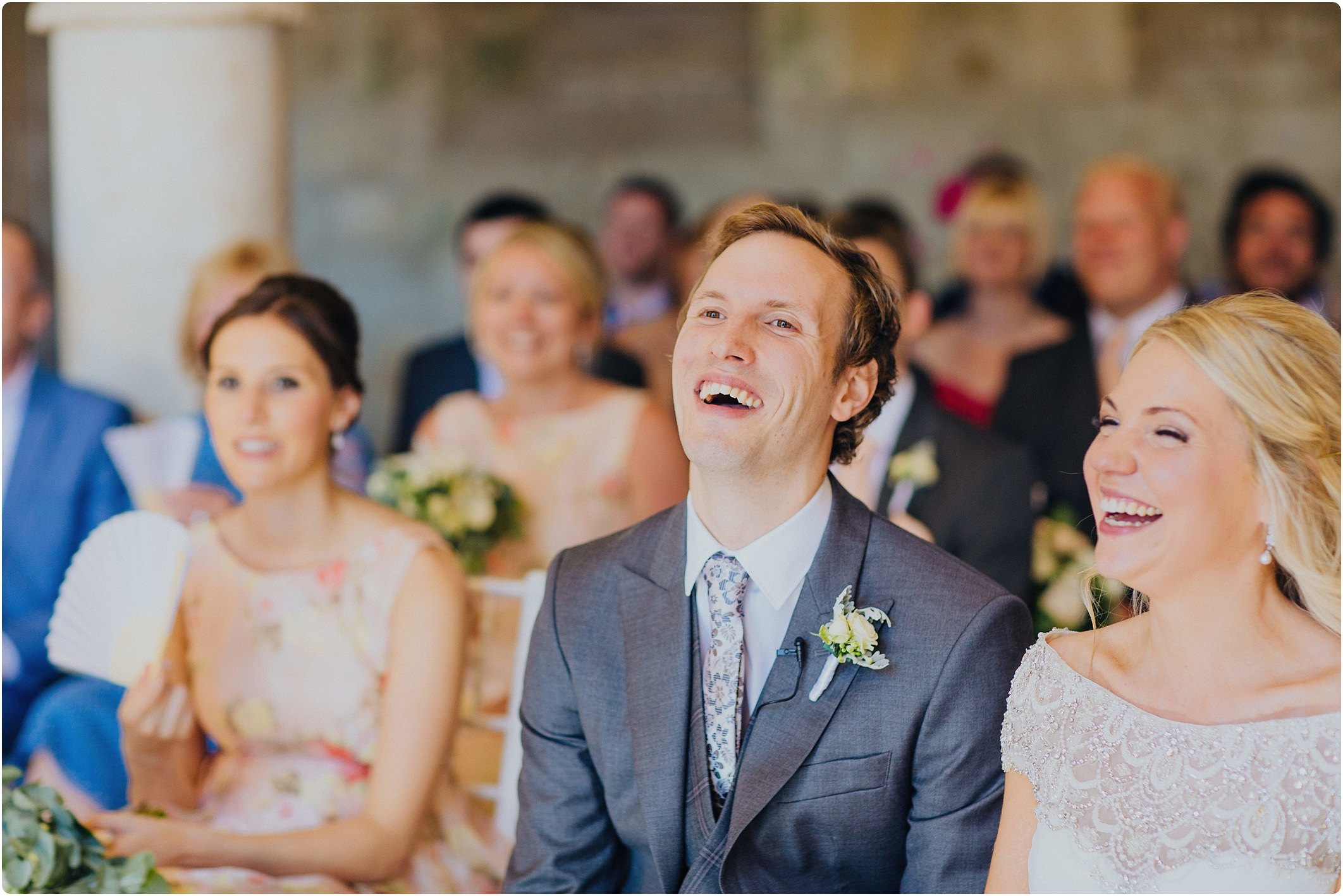 groom laughing at a san galgano abbey wedding