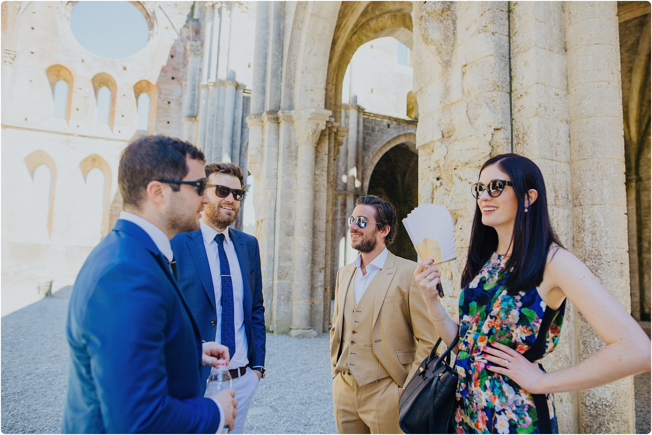 guests after a san galgano abbey wedding