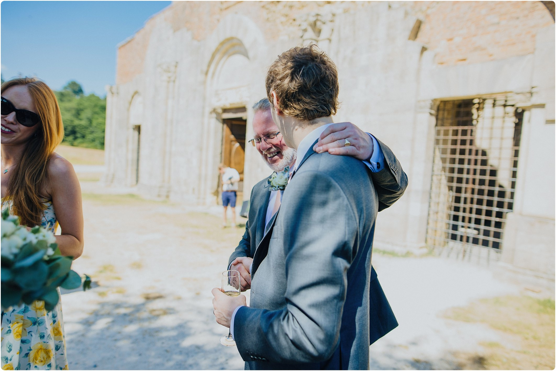 FOB and groom at a san galgano abbey wedding