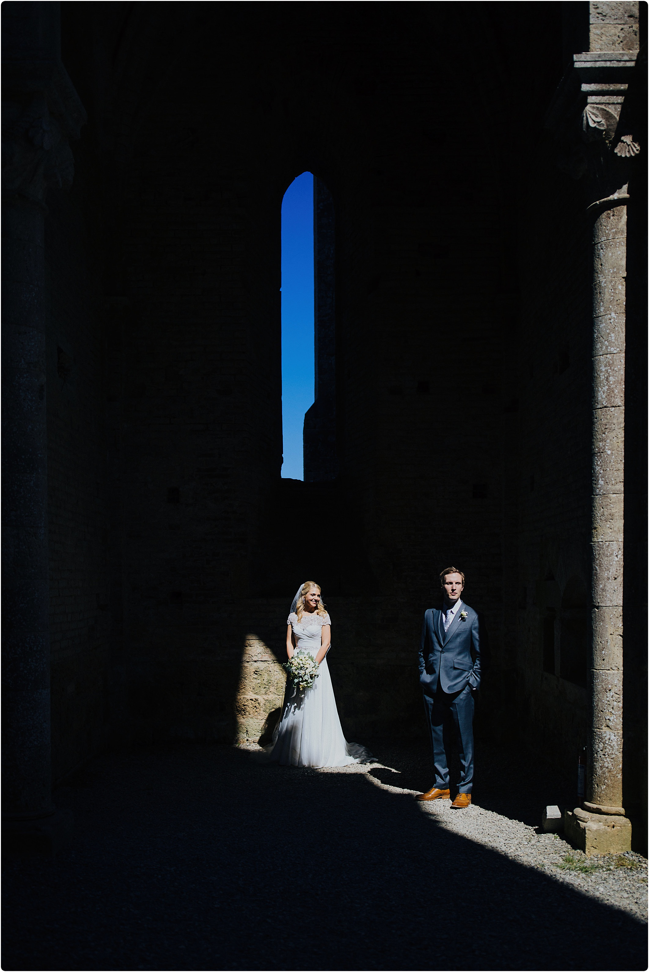 creative photography at a san galgano abbey wedding