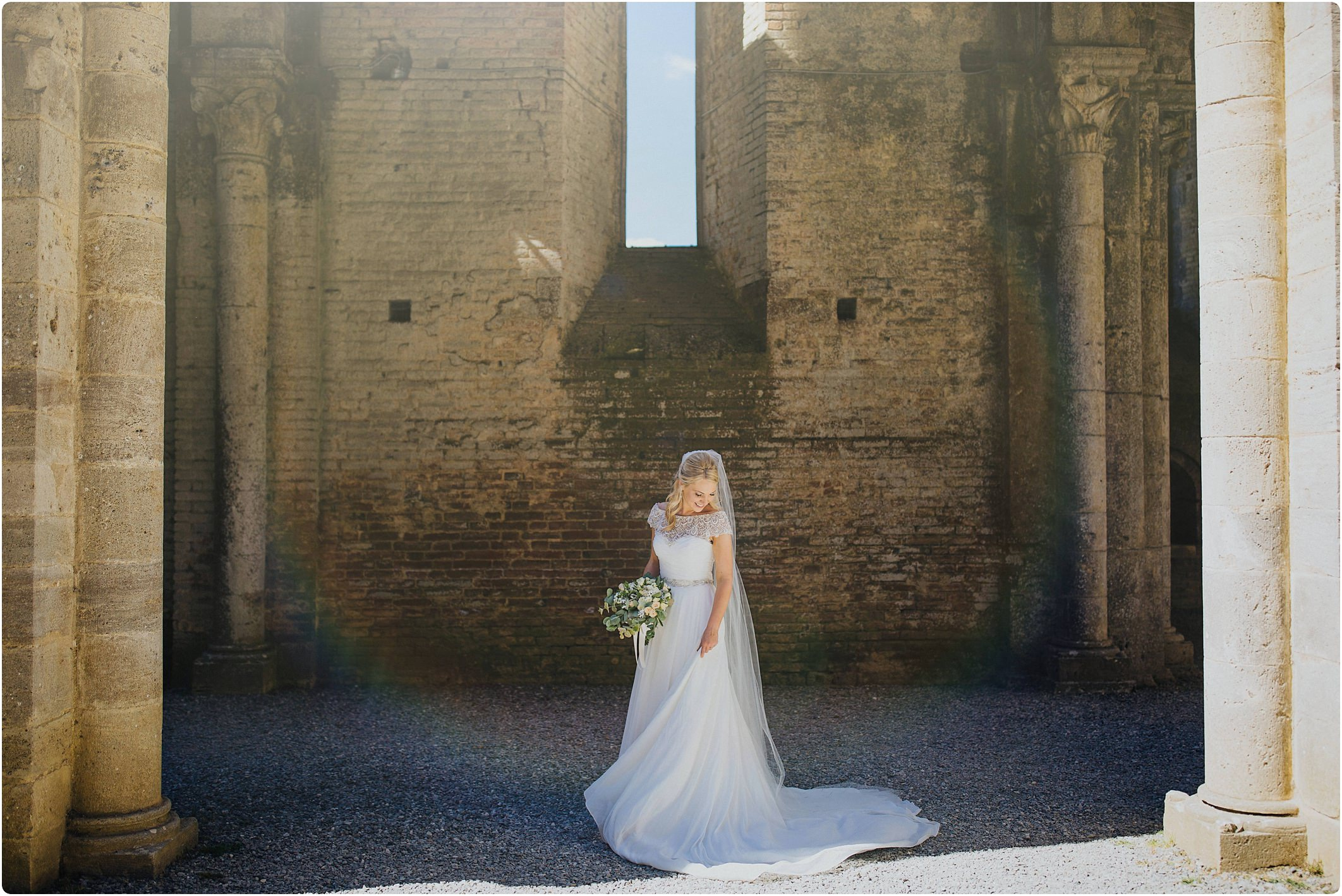 bride at a san galgano abbey wedding