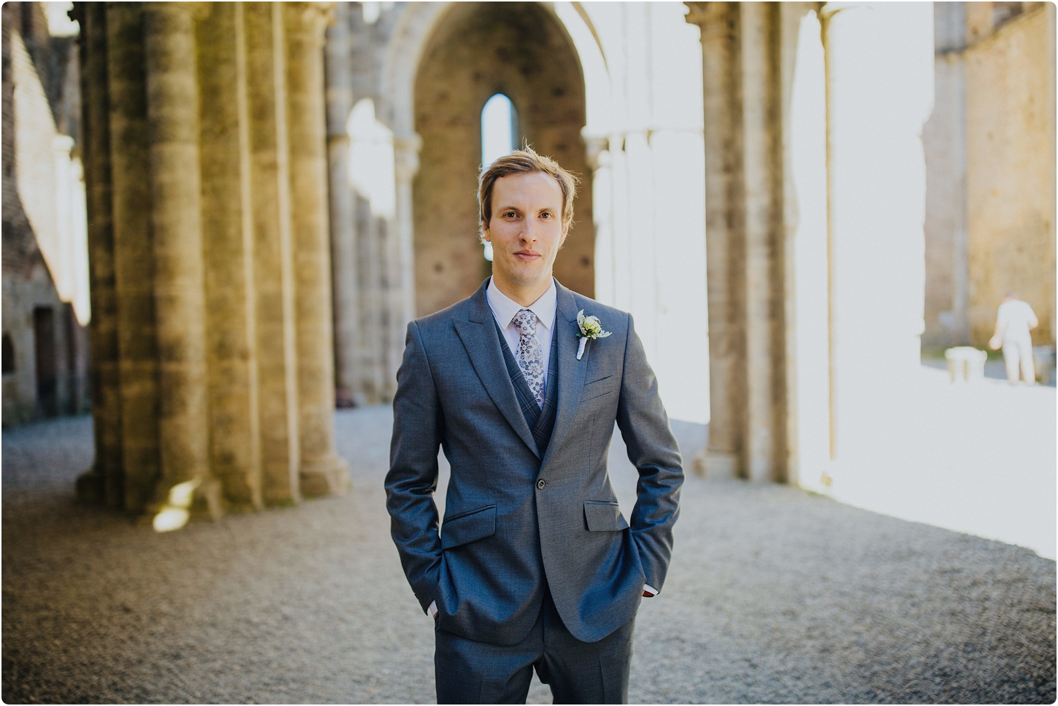 groom at a san galgano abbey wedding