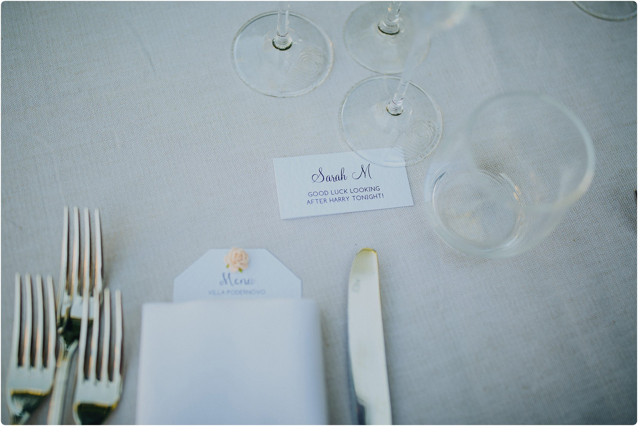 funny table lay out at a villa podernovo wedding