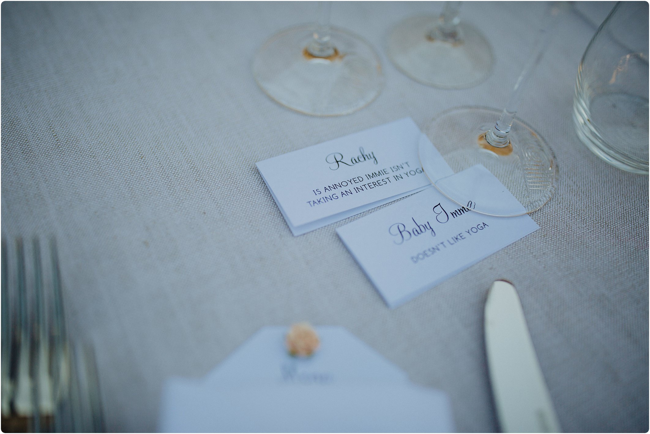 funny name cards at a villa podernovo wedding