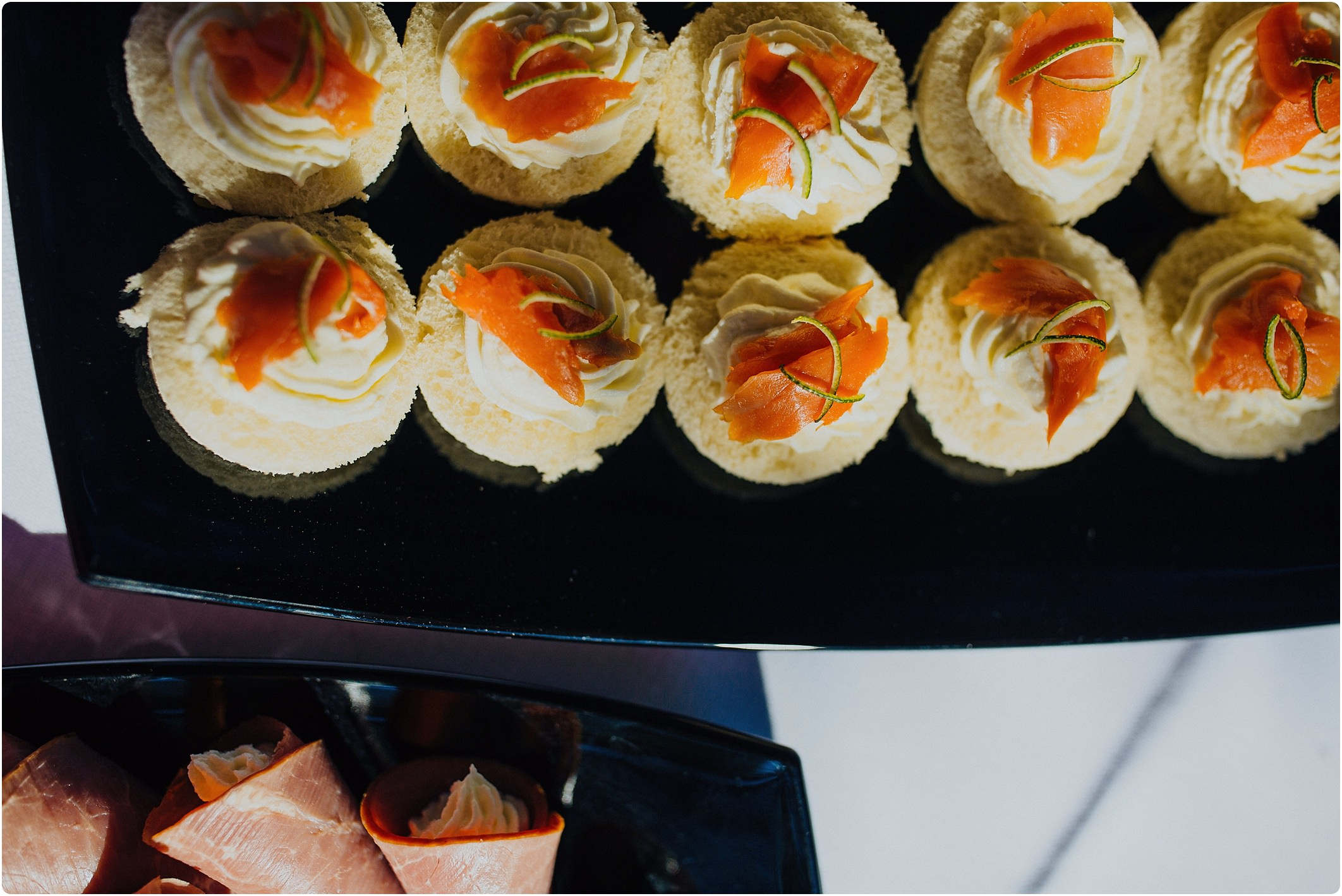 salmon canapés at a villa podernovo wedding