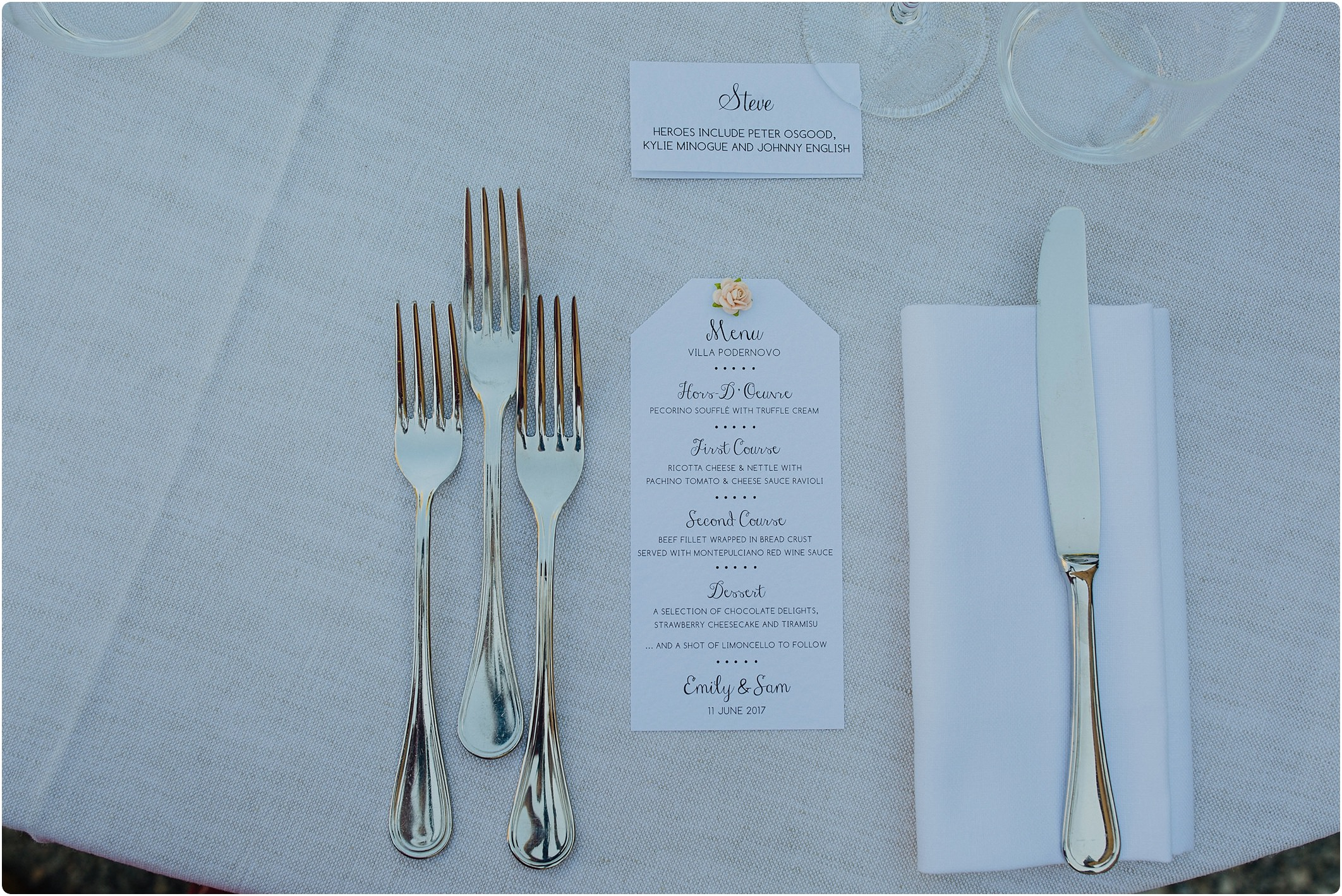 menu at a villa podernovo wedding
