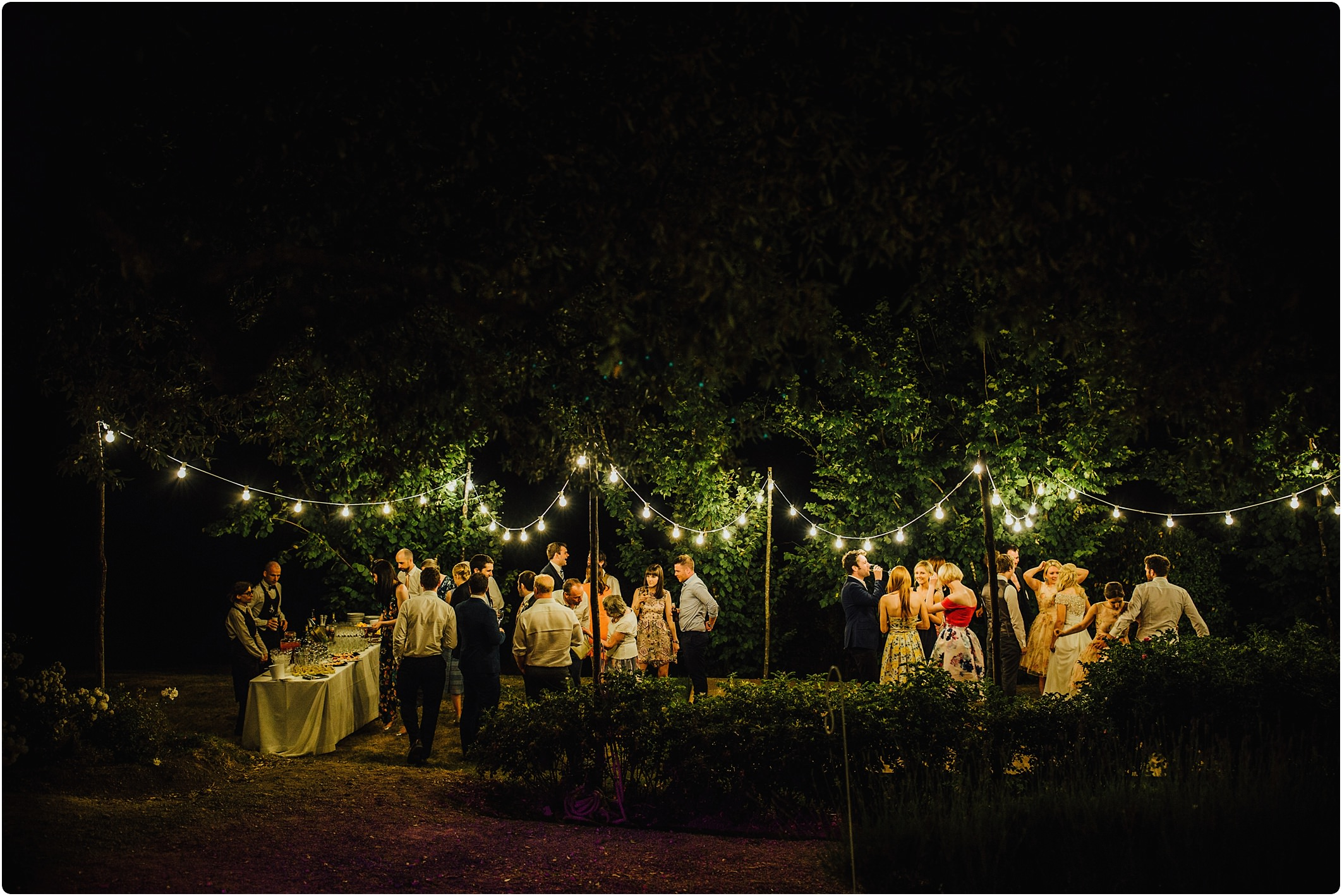 festoon lights at a tuscan wedding