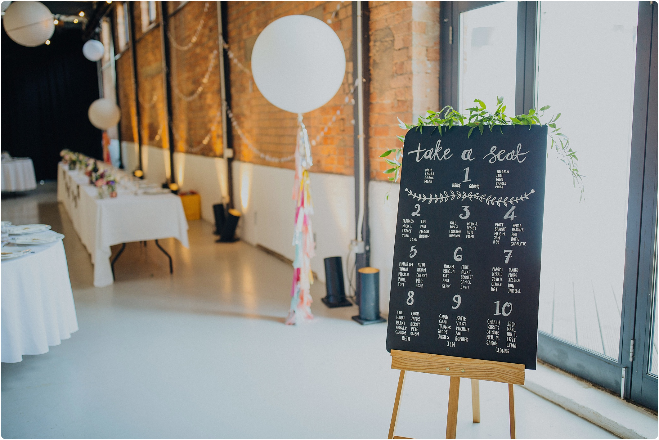 chalk board table plan at The Paintworks Wedding