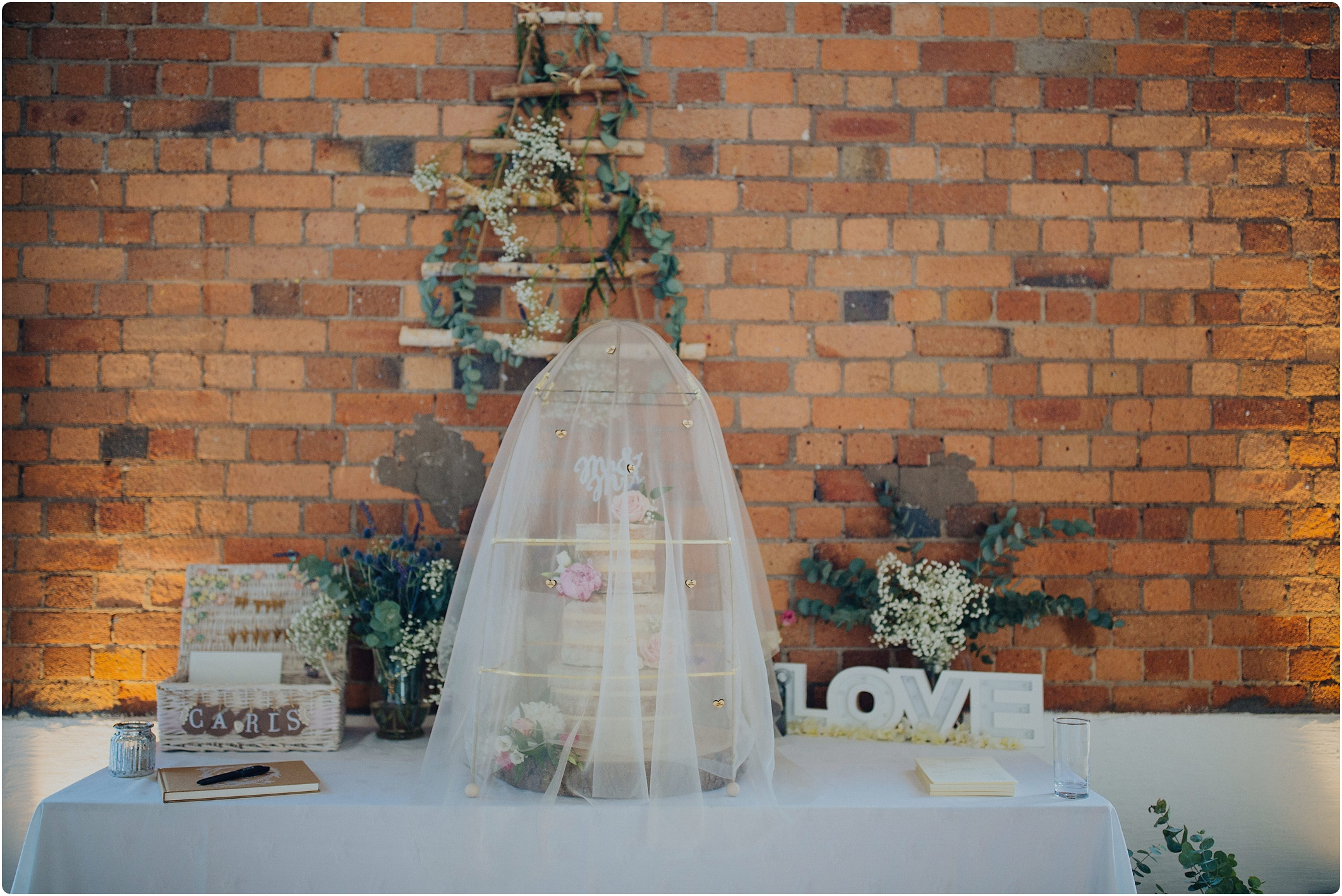 net cake covering at The Paintworks Wedding