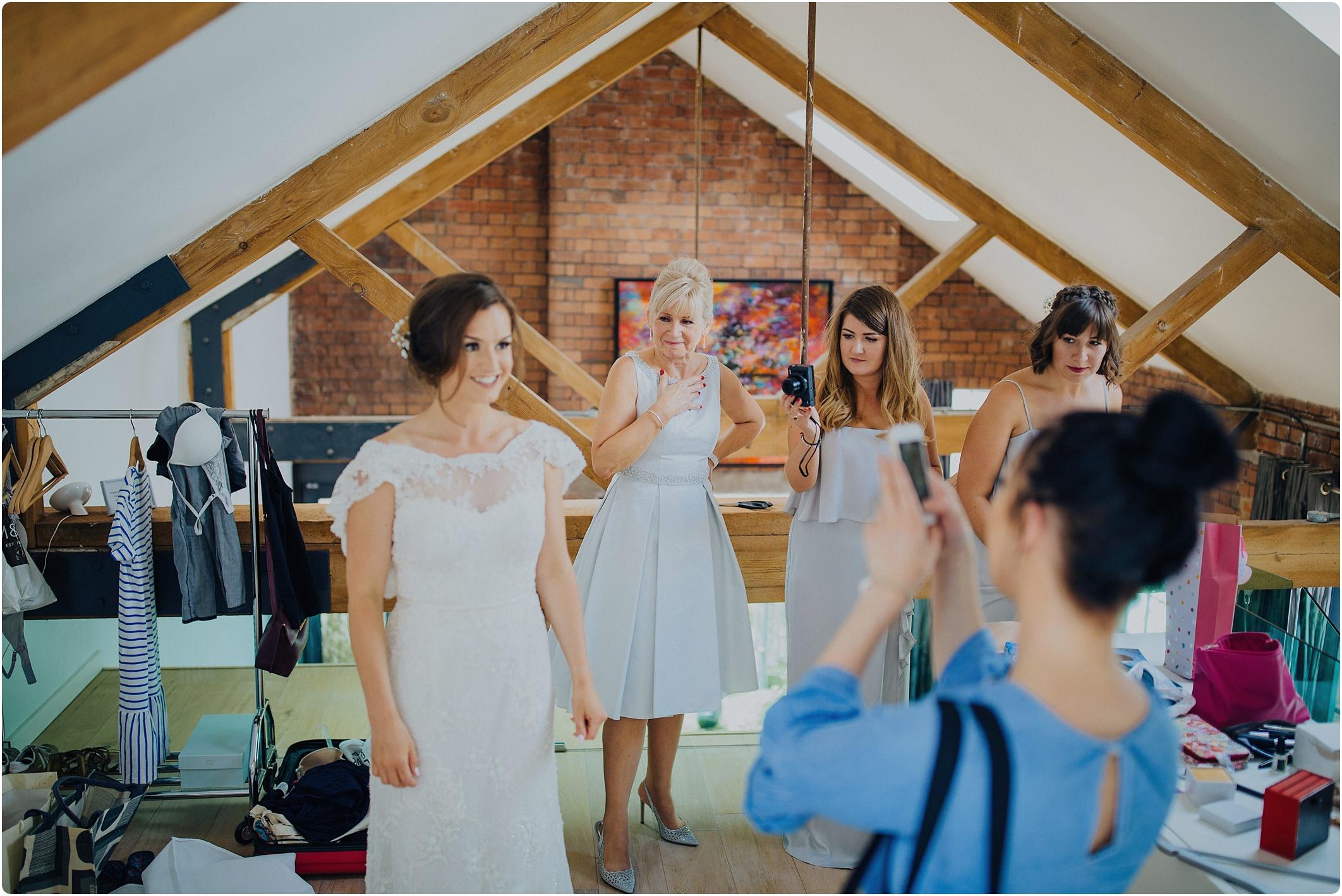 mum getting emotional seeing bride at The Paintworks Wedding