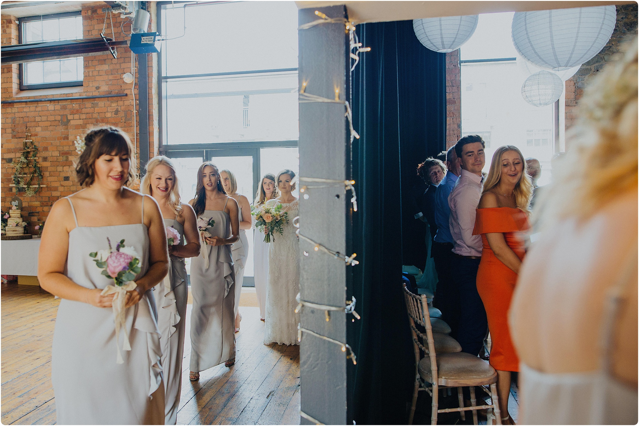 bride walking in at The Paintworks Wedding