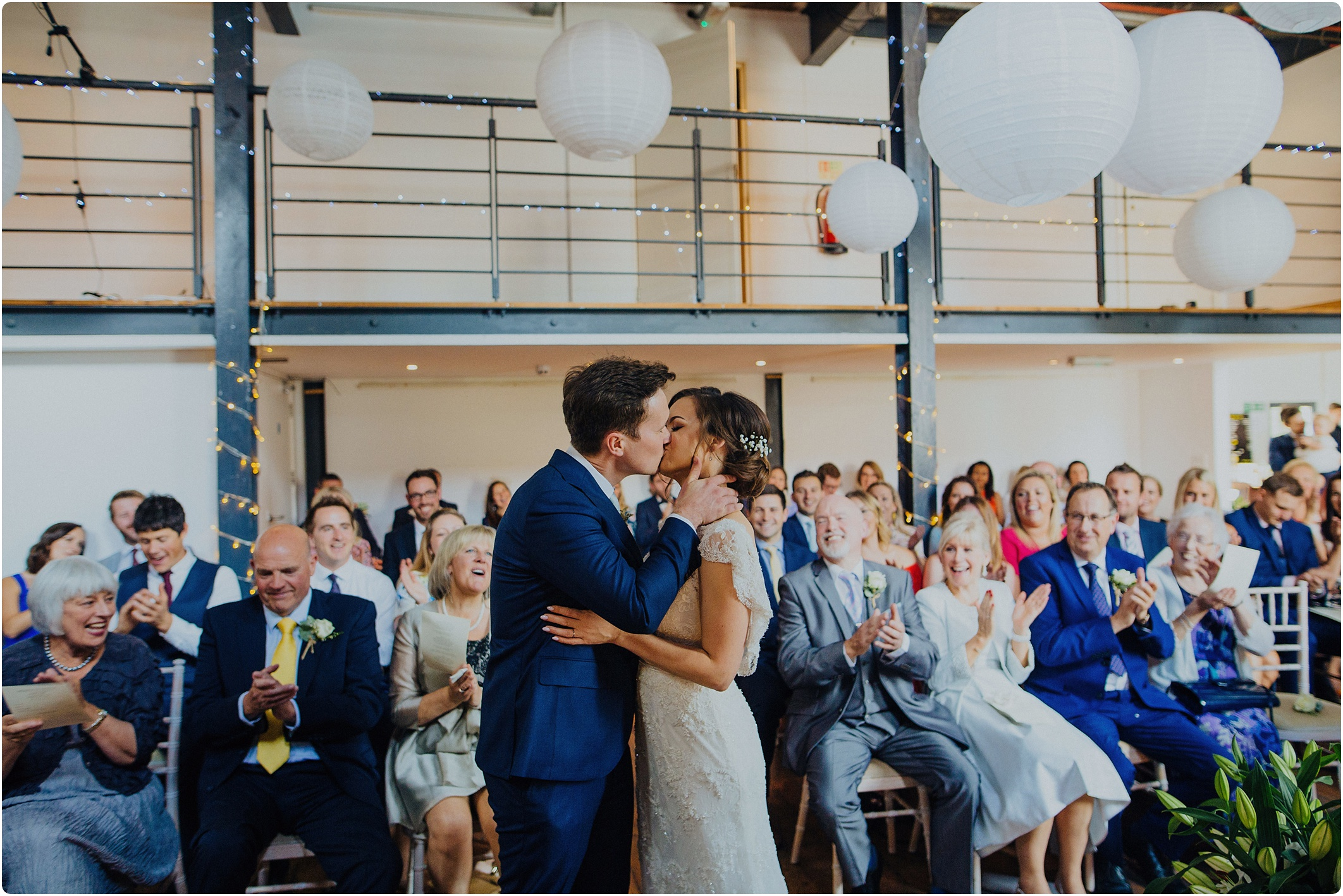 The first kiss at The Paintworks Wedding