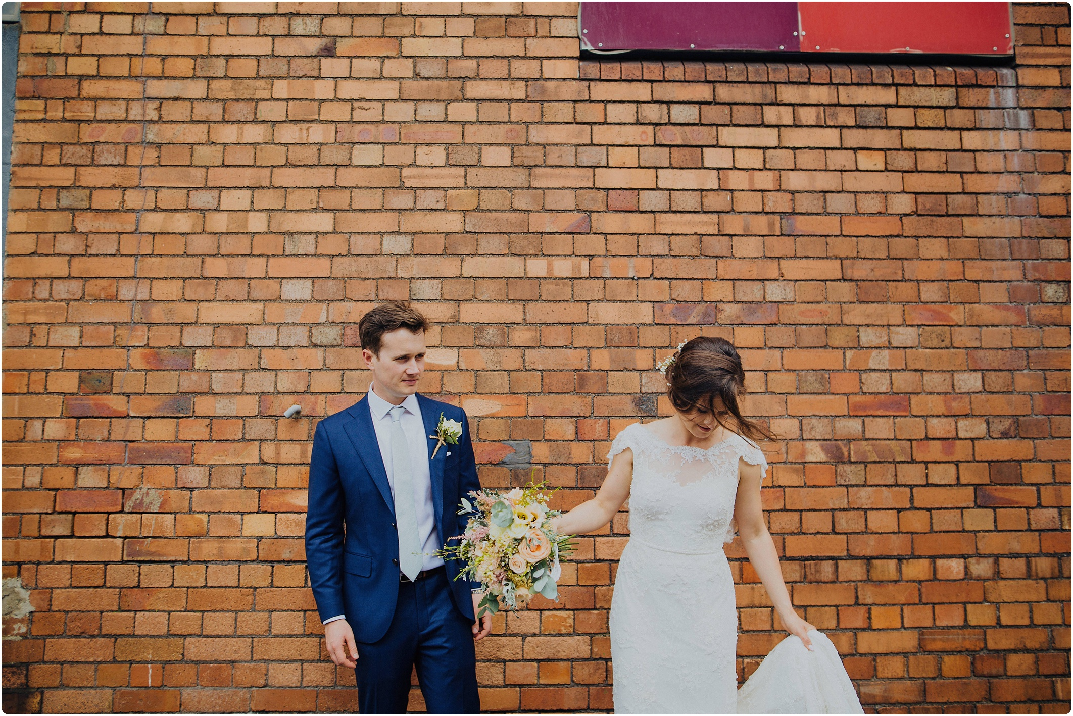 couple shot outside The Paintworks Wedding