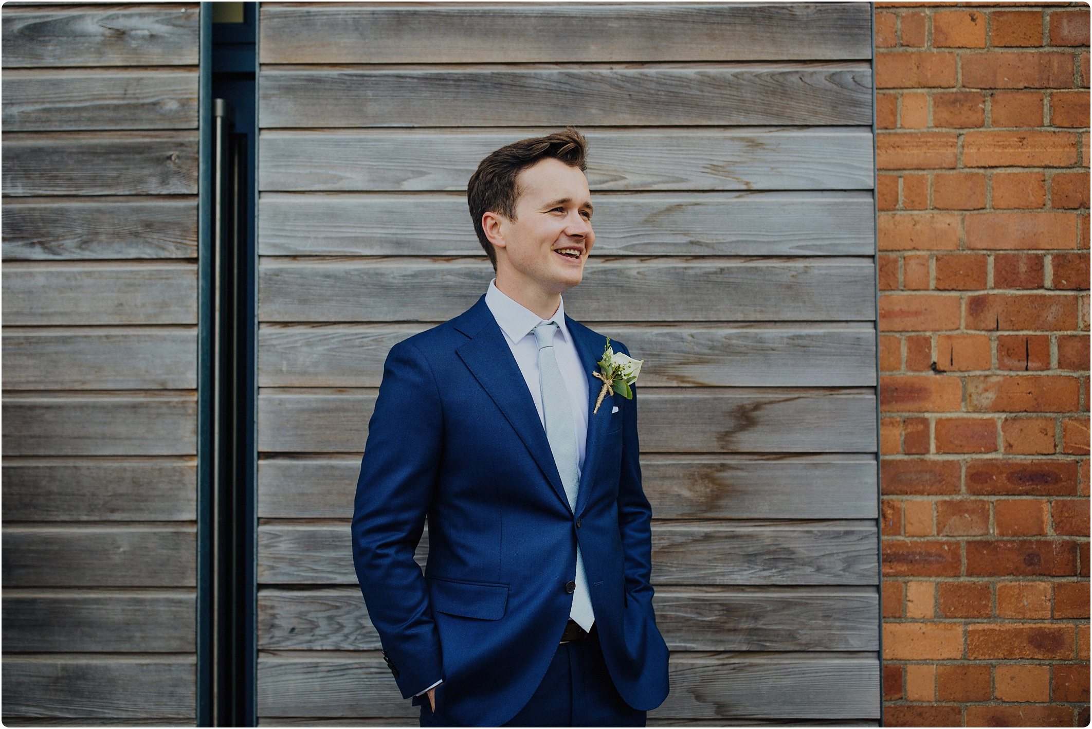 groom outside at The Paintworks Wedding