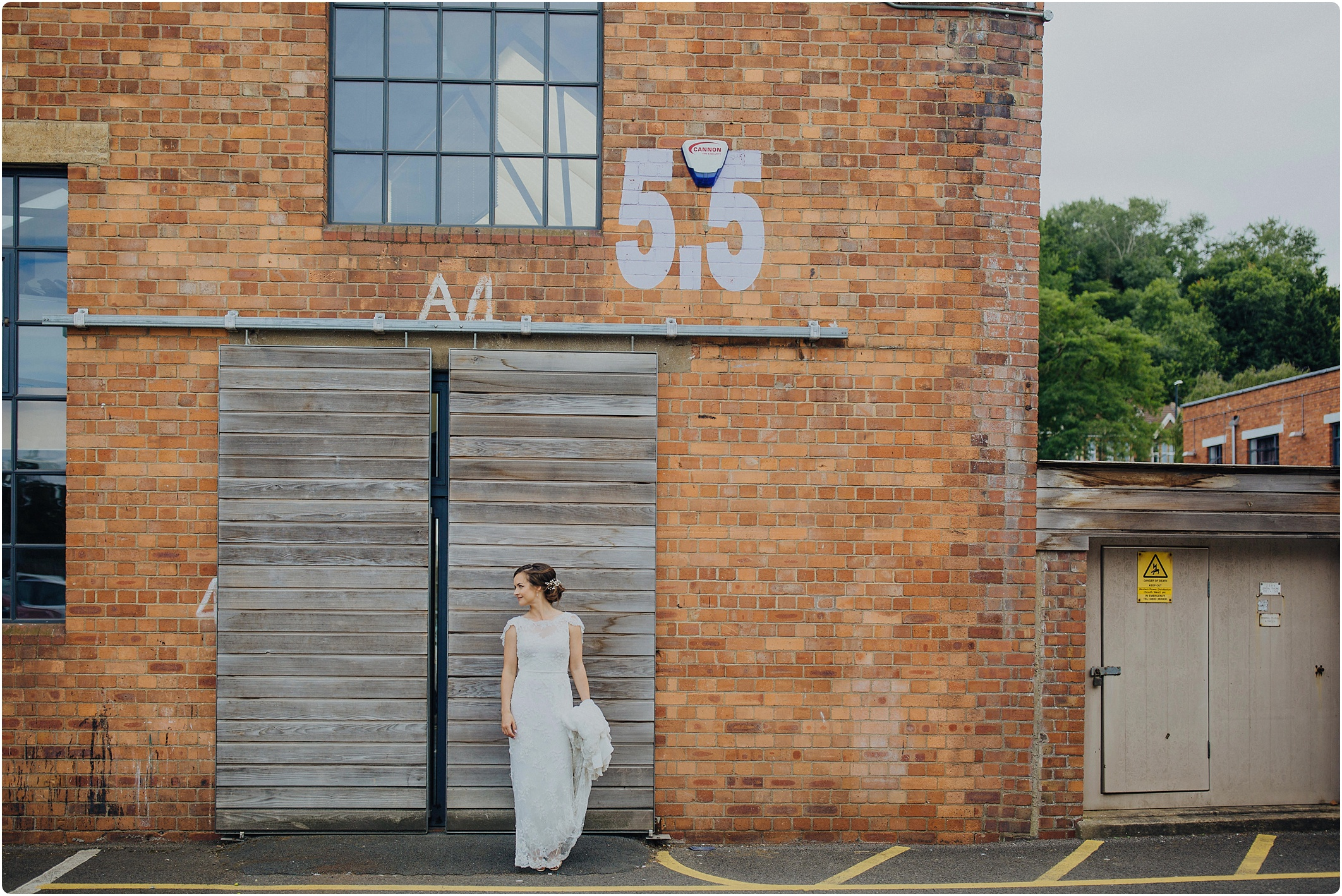 bride outside at The Paintworks Wedding
