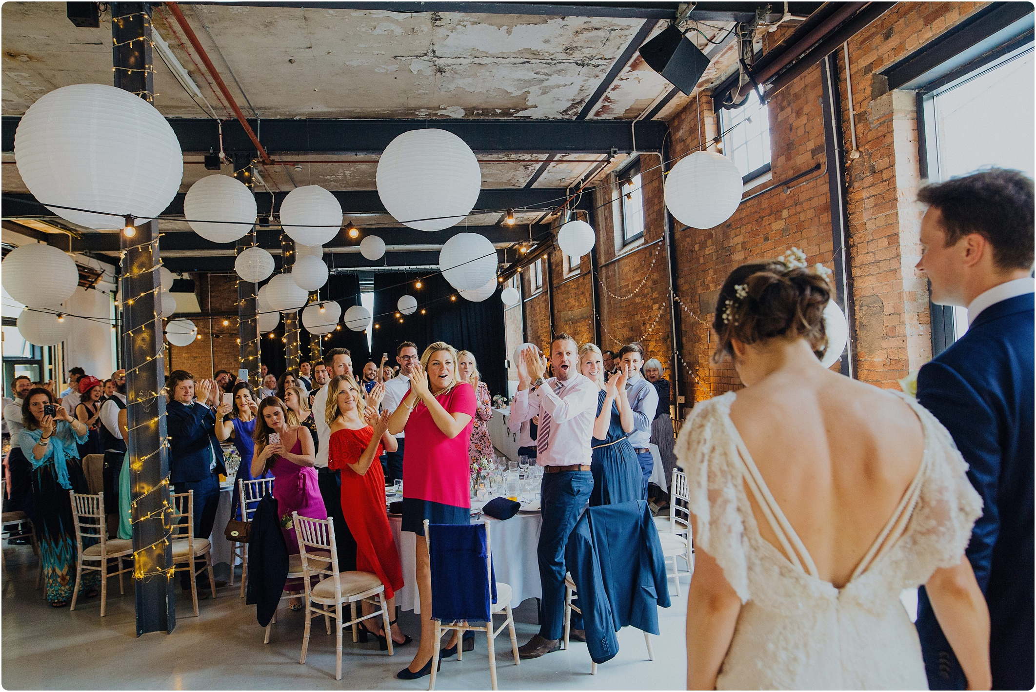bride and grooms entrance at The Paintworks Wedding