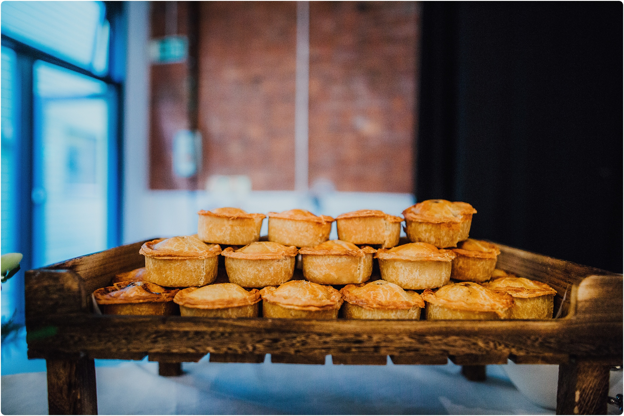 pork pies at a paintworks wedding